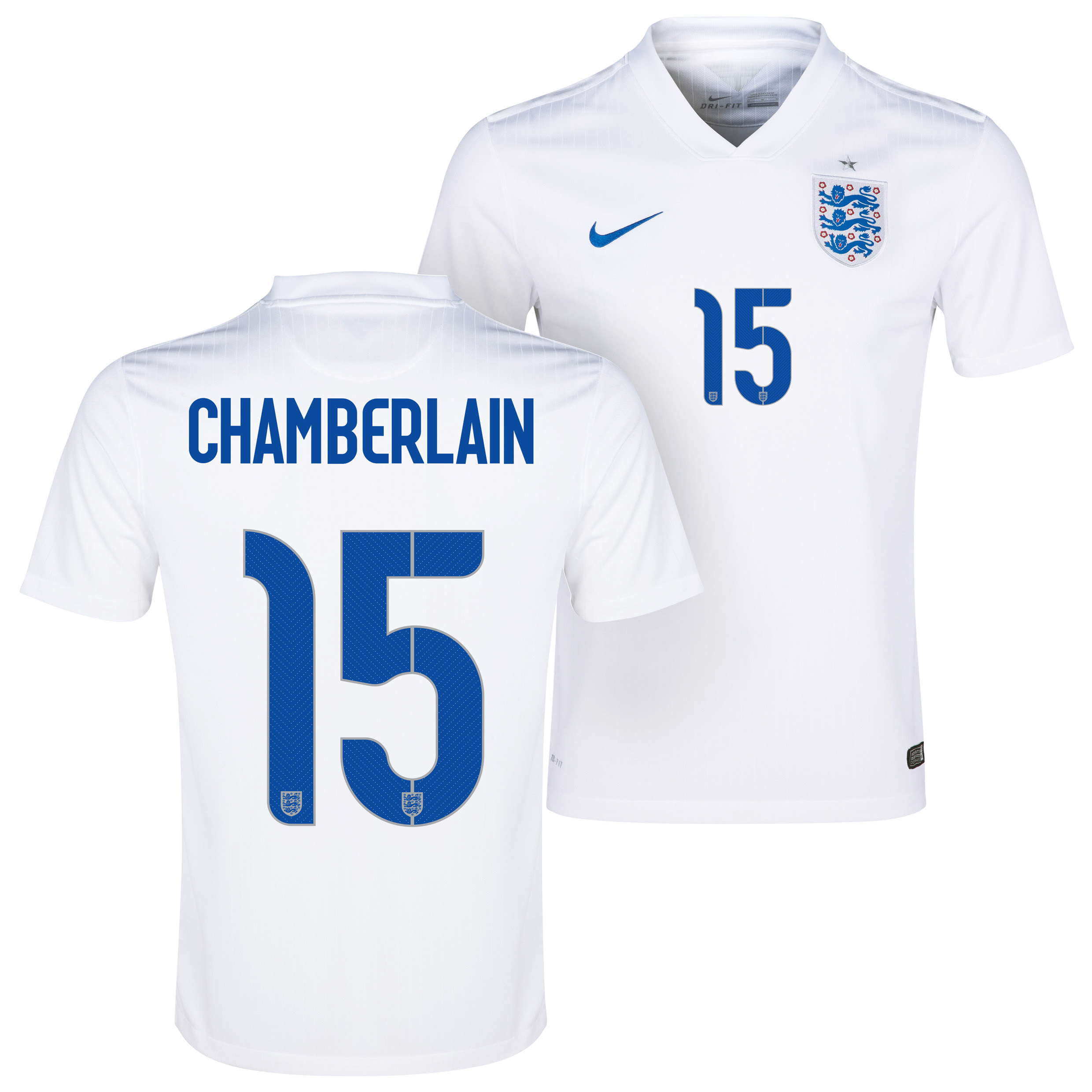 England Match Home Shirt 2014/15 White with Chamberlain 15 printing
