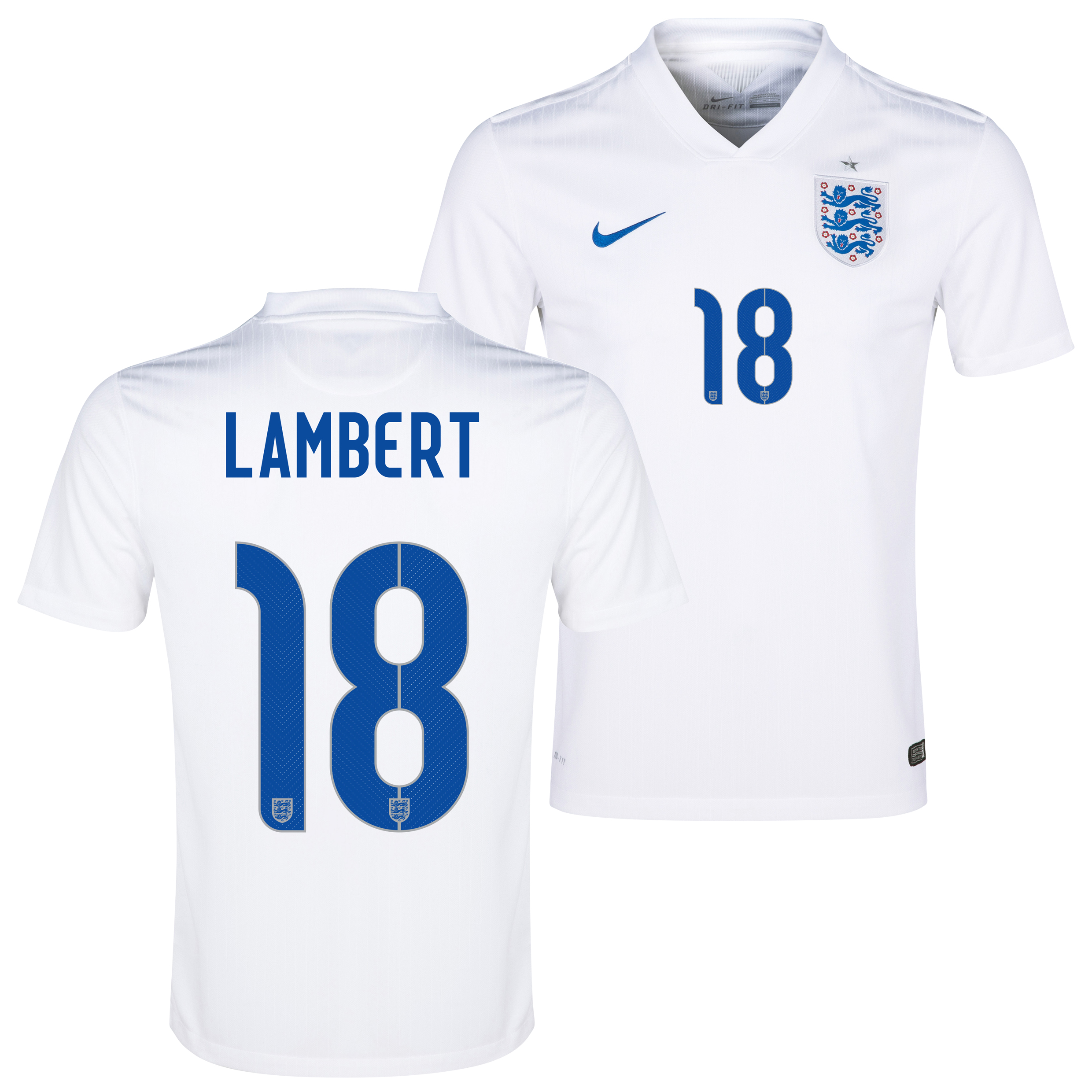 England Match Home Shirt 2014/15 White with Lambert 18 printing