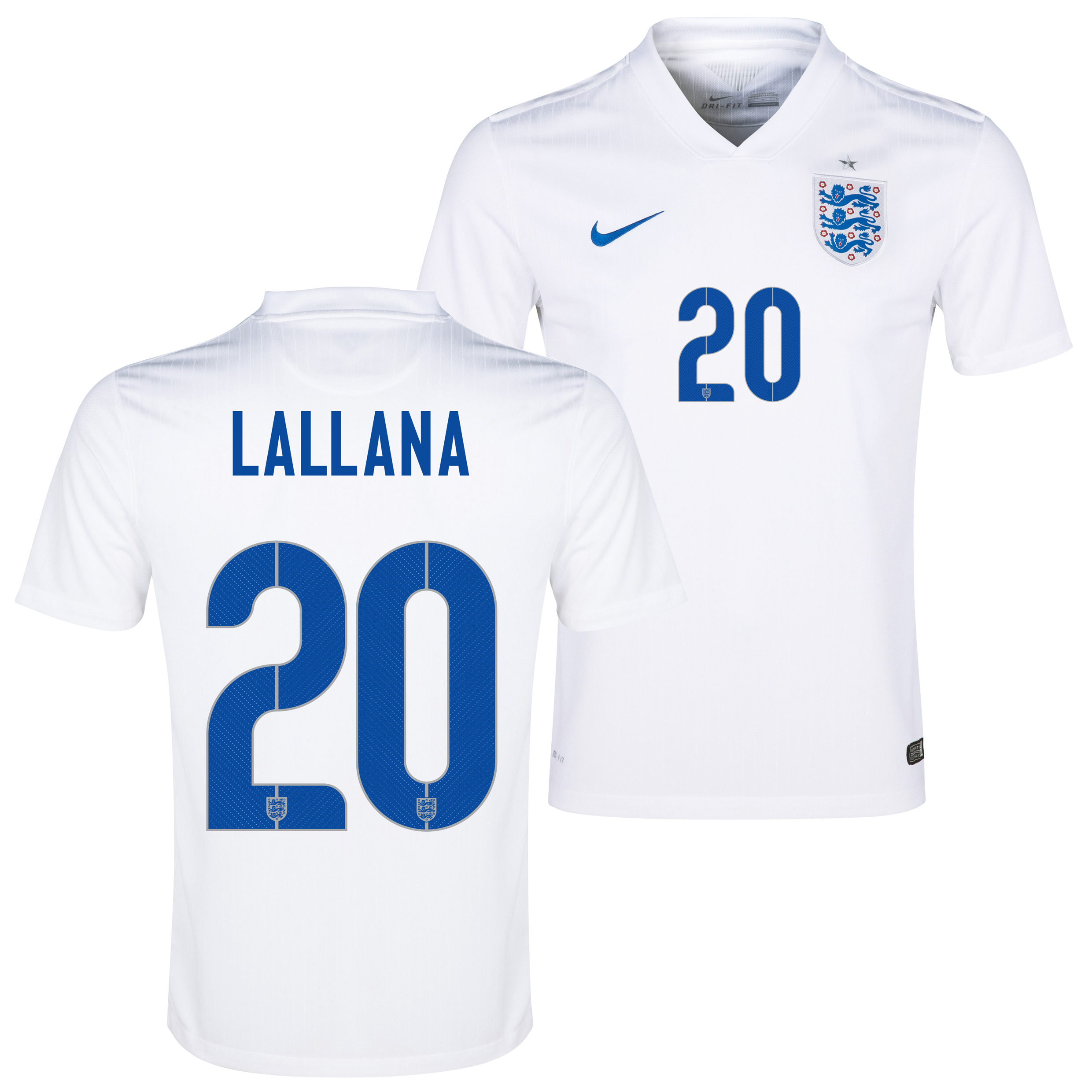 England Match Home Shirt 2014/15 White with Lallana 20 printing
