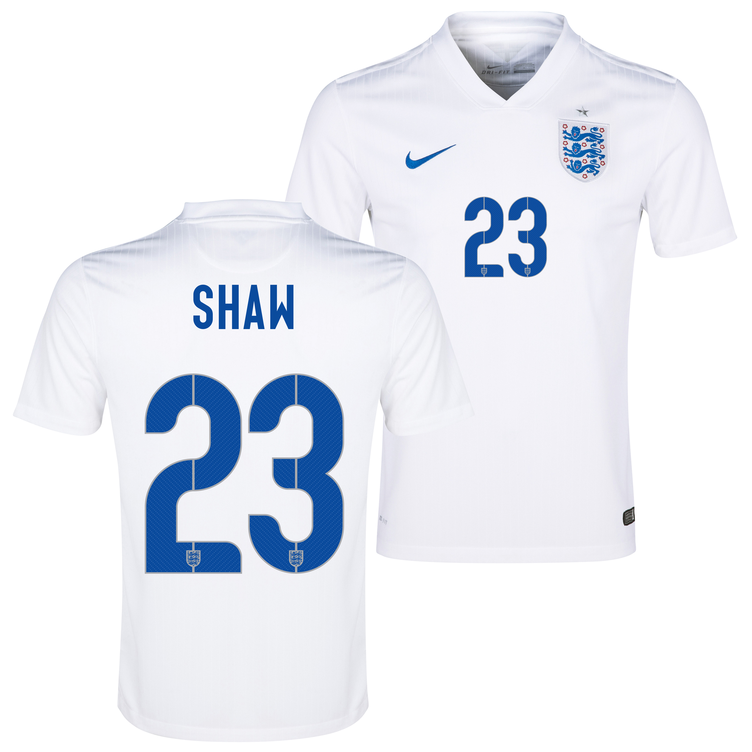 England Match Home Shirt 2014/15 White with Shaw 23 printing