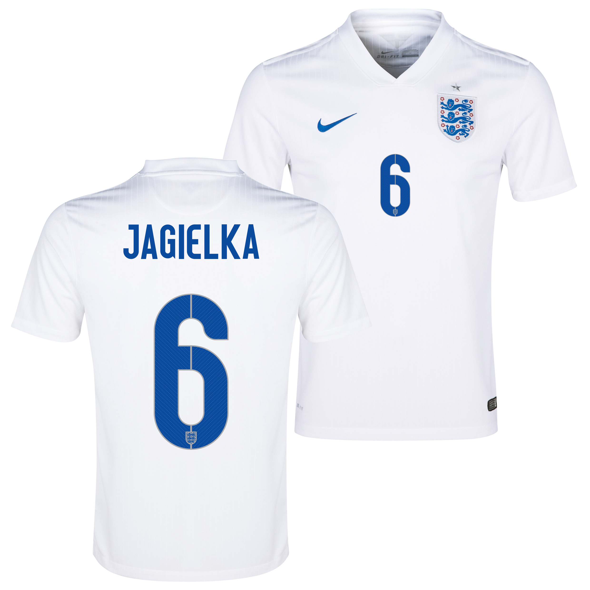 England Home Shirt 2014/15 White with Jagielka 6 printing