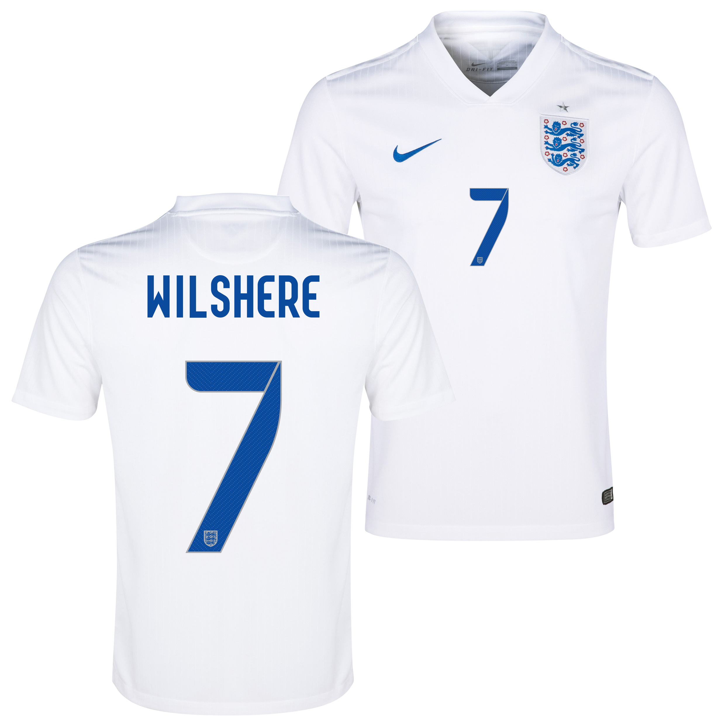 England Home Shirt 2014/15 White with Wilshere 7 printing