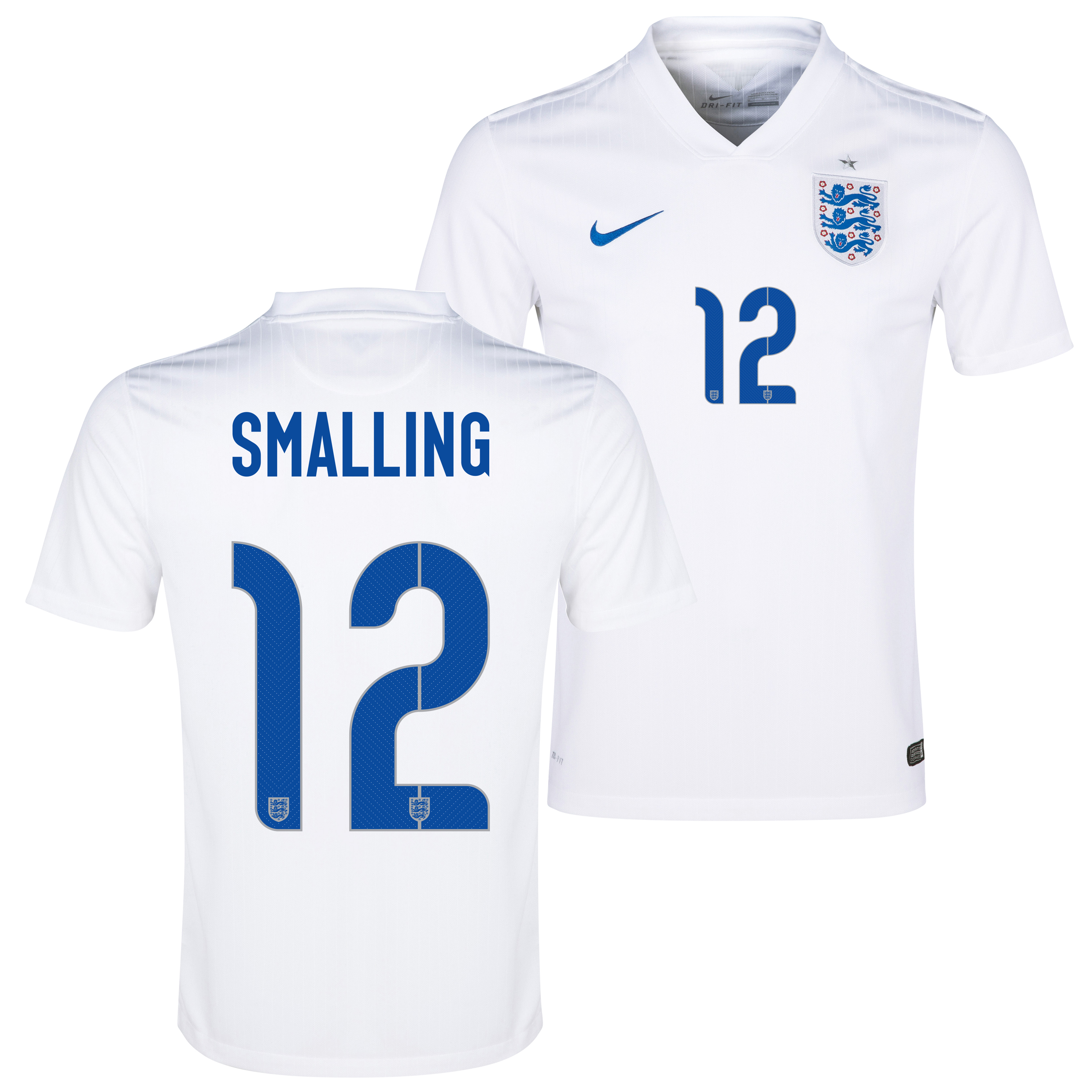 England Home Shirt 2014/15 - Kids White with Smalling 12 printing