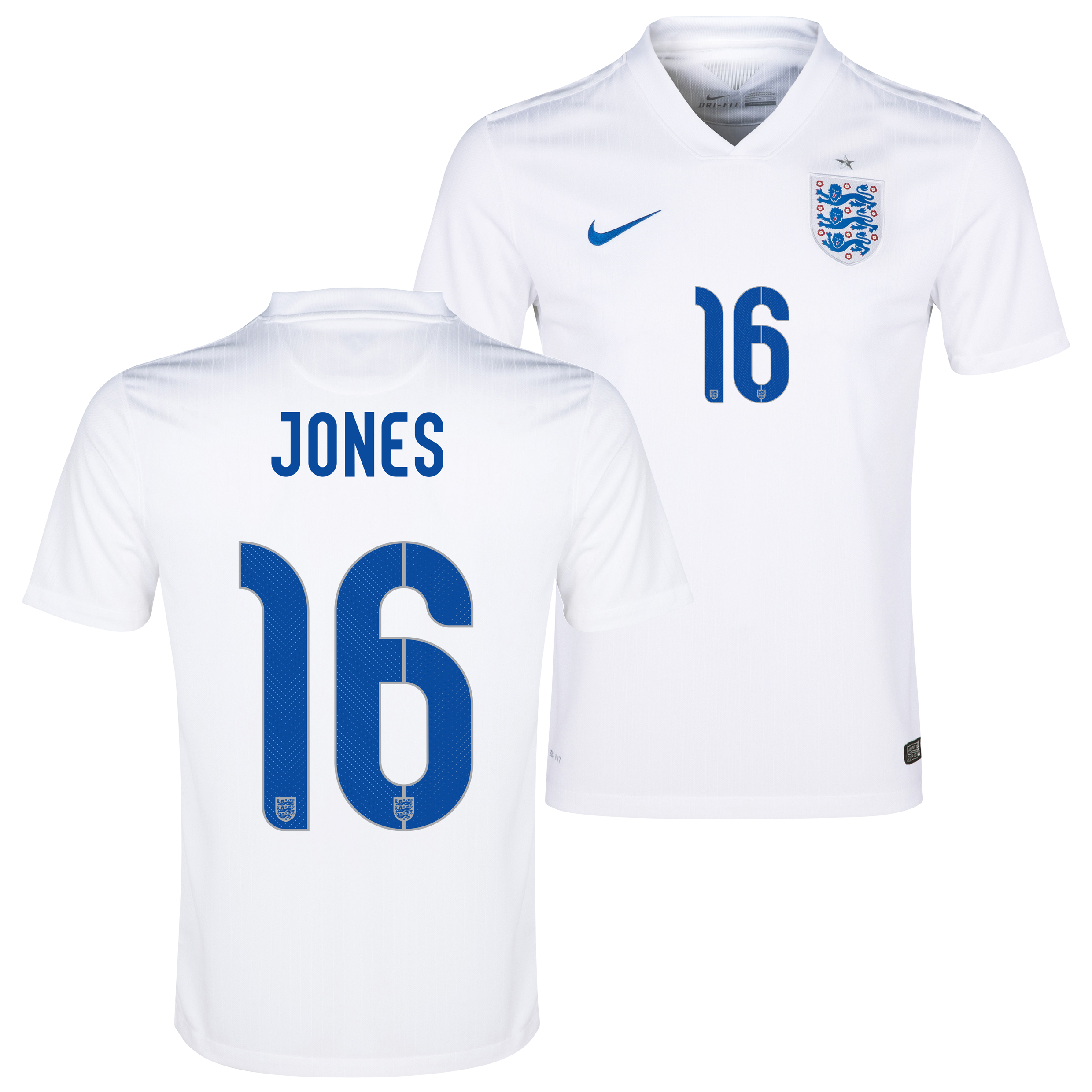 England Home Shirt 2014/15 - Kids White with Jones 16 printing