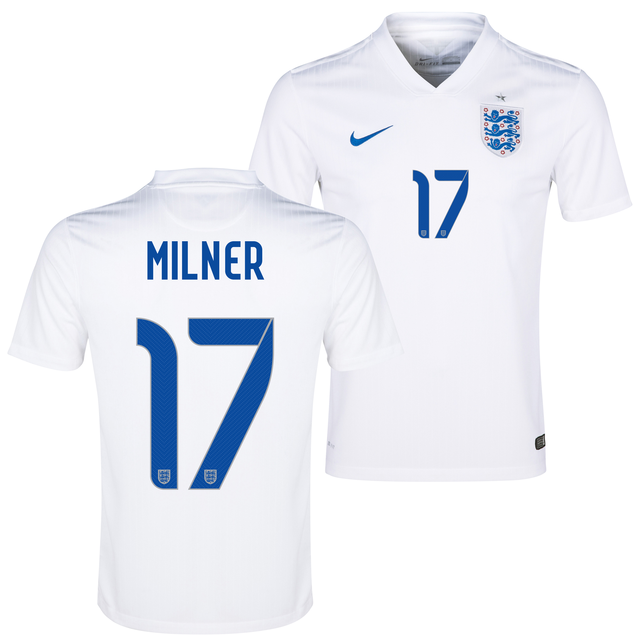 England Home Shirt 2014/15 - Kids White with Milner 17 printing