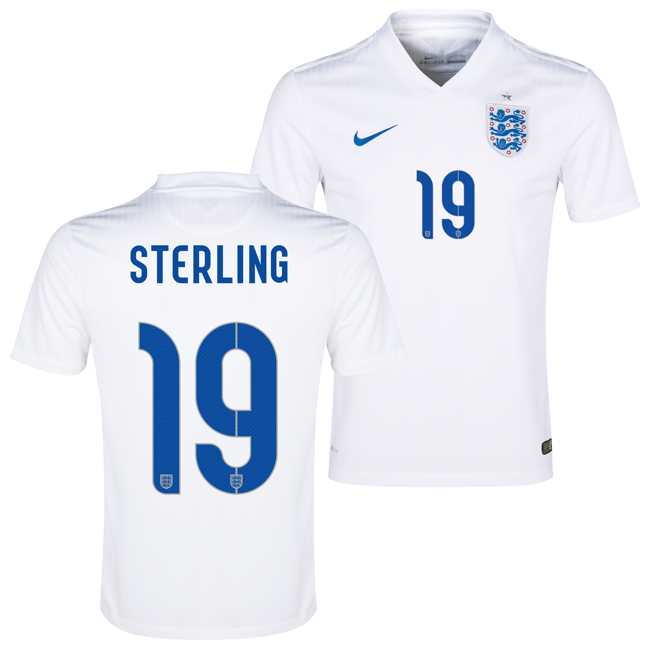 England Home Shirt 2014/15 - Kids White with Sterling 19 printing