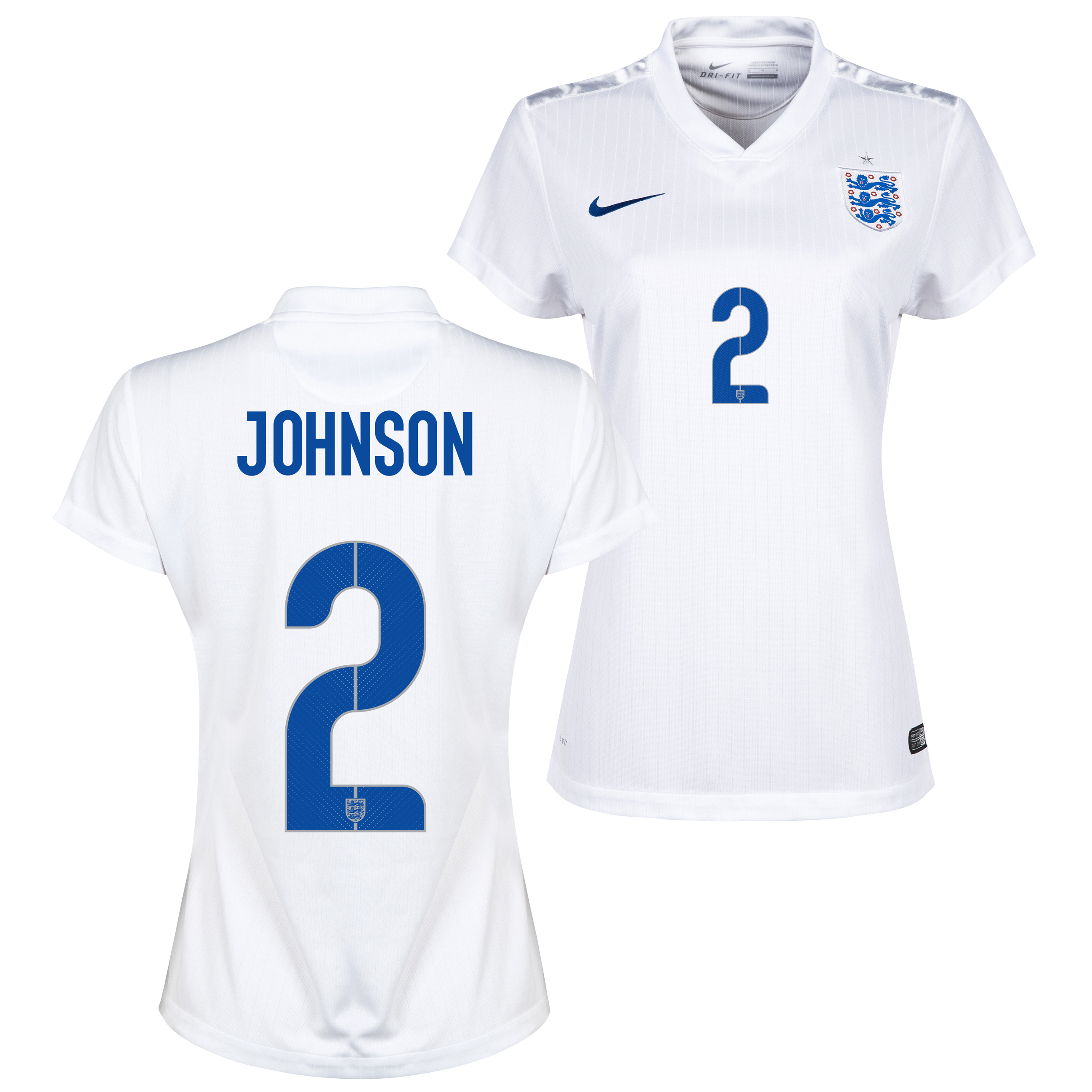 England Home Shirt 2014/15 - Womens White with Johnson 2 printing