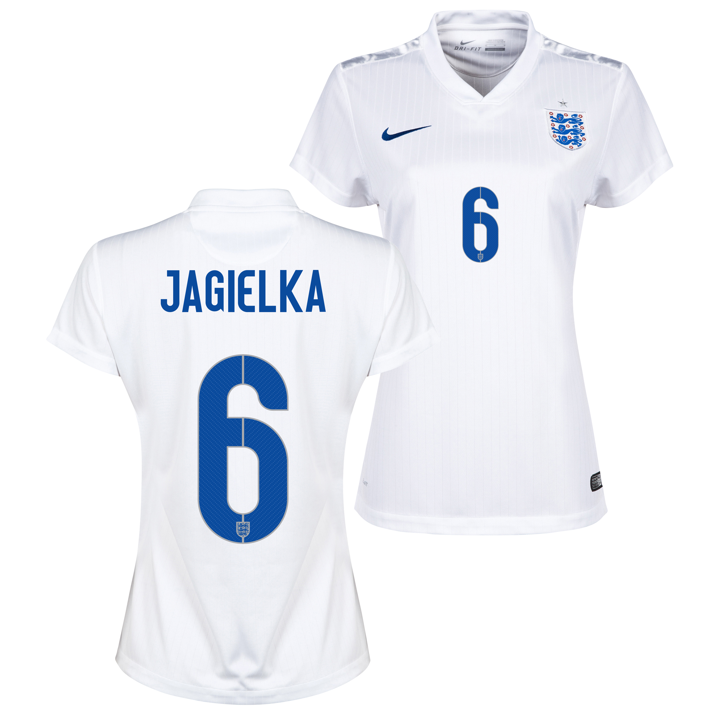England Home Shirt 2014/15 - Womens White with Jagielka 6 printing