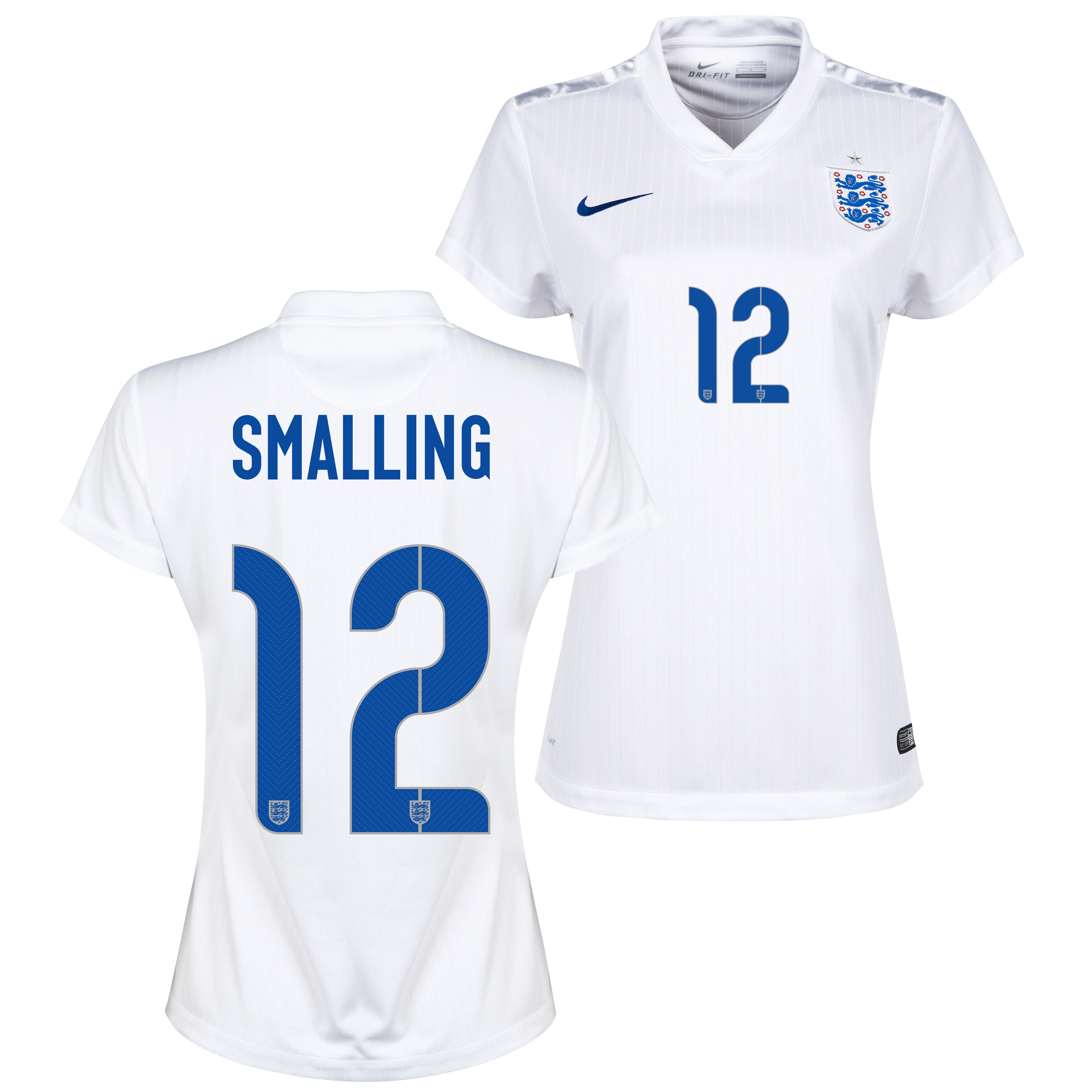 England Home Shirt 2014/15 - Womens White with Smalling 12 printing