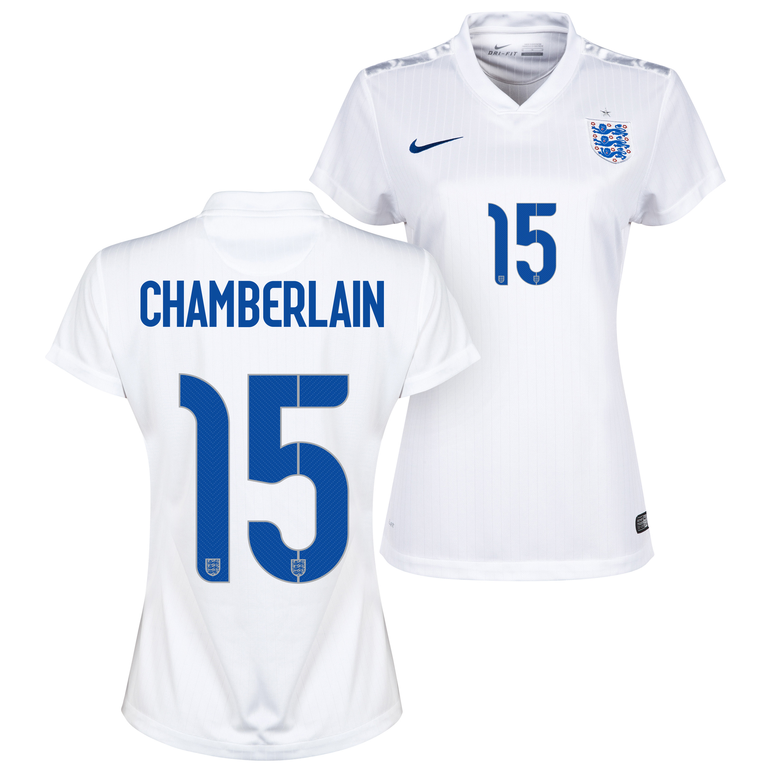 England Home Shirt 2014/15 - Womens White with Chamberlain 15 printing
