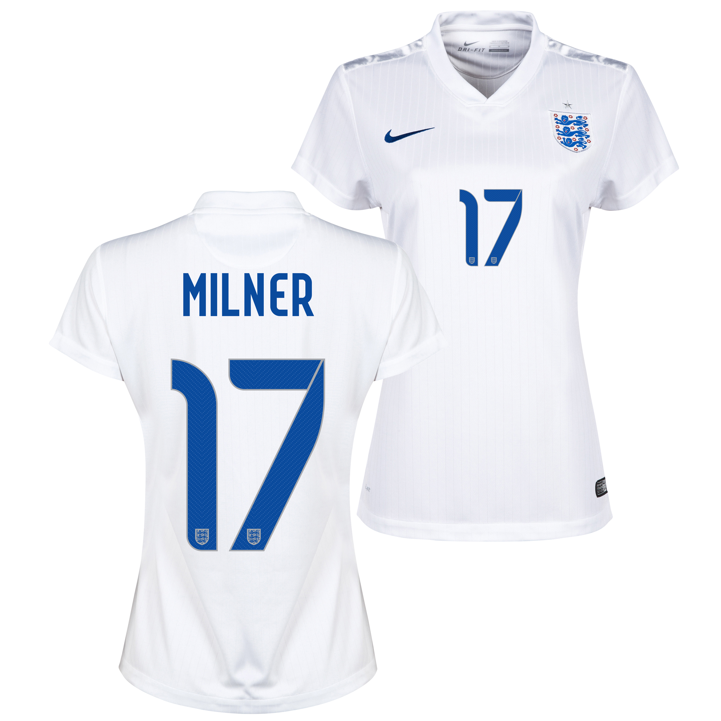 England Home Shirt 2014/15 - Womens White with Milner 17 printing