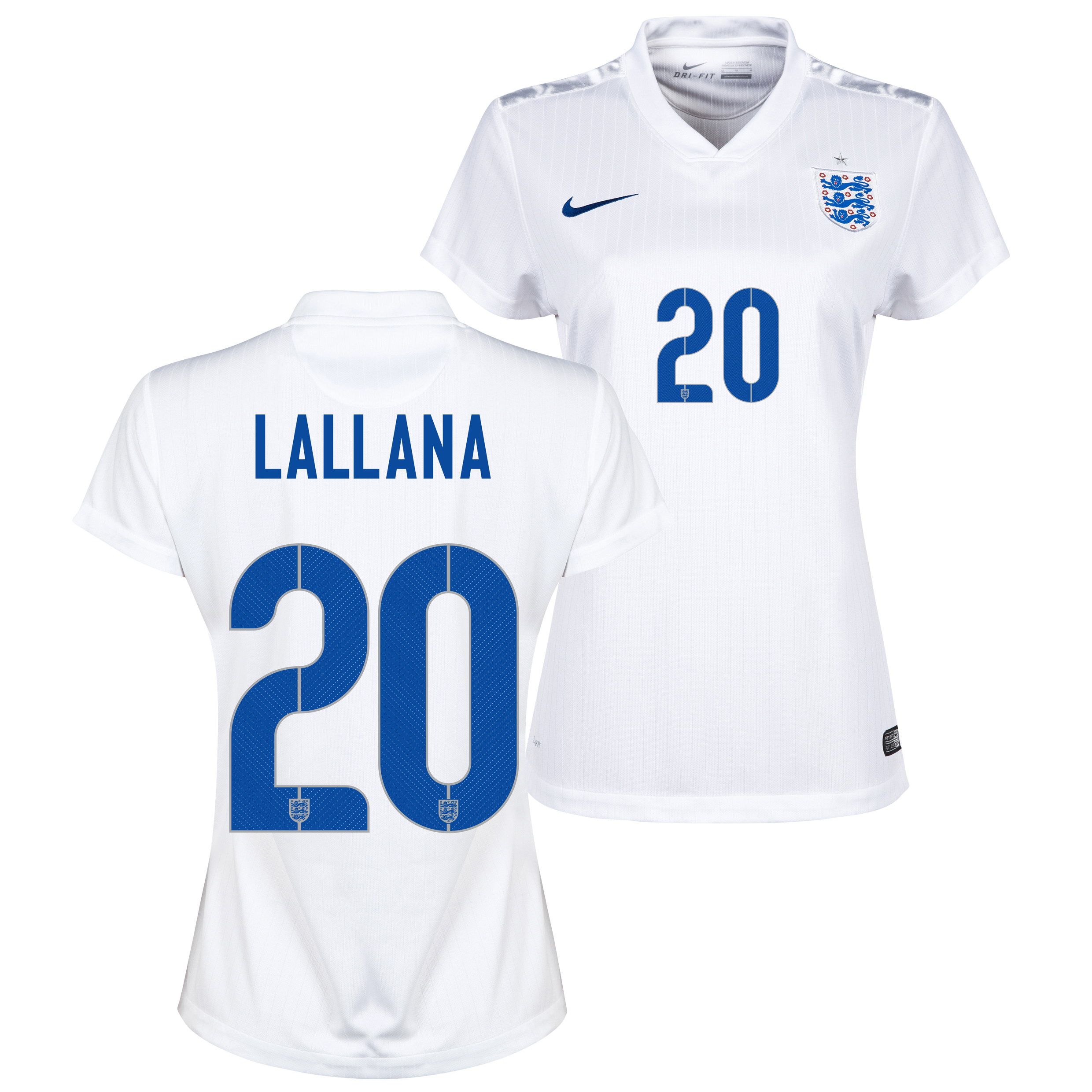 England Home Shirt 2014/15 - Womens White with Lallana 20 printing