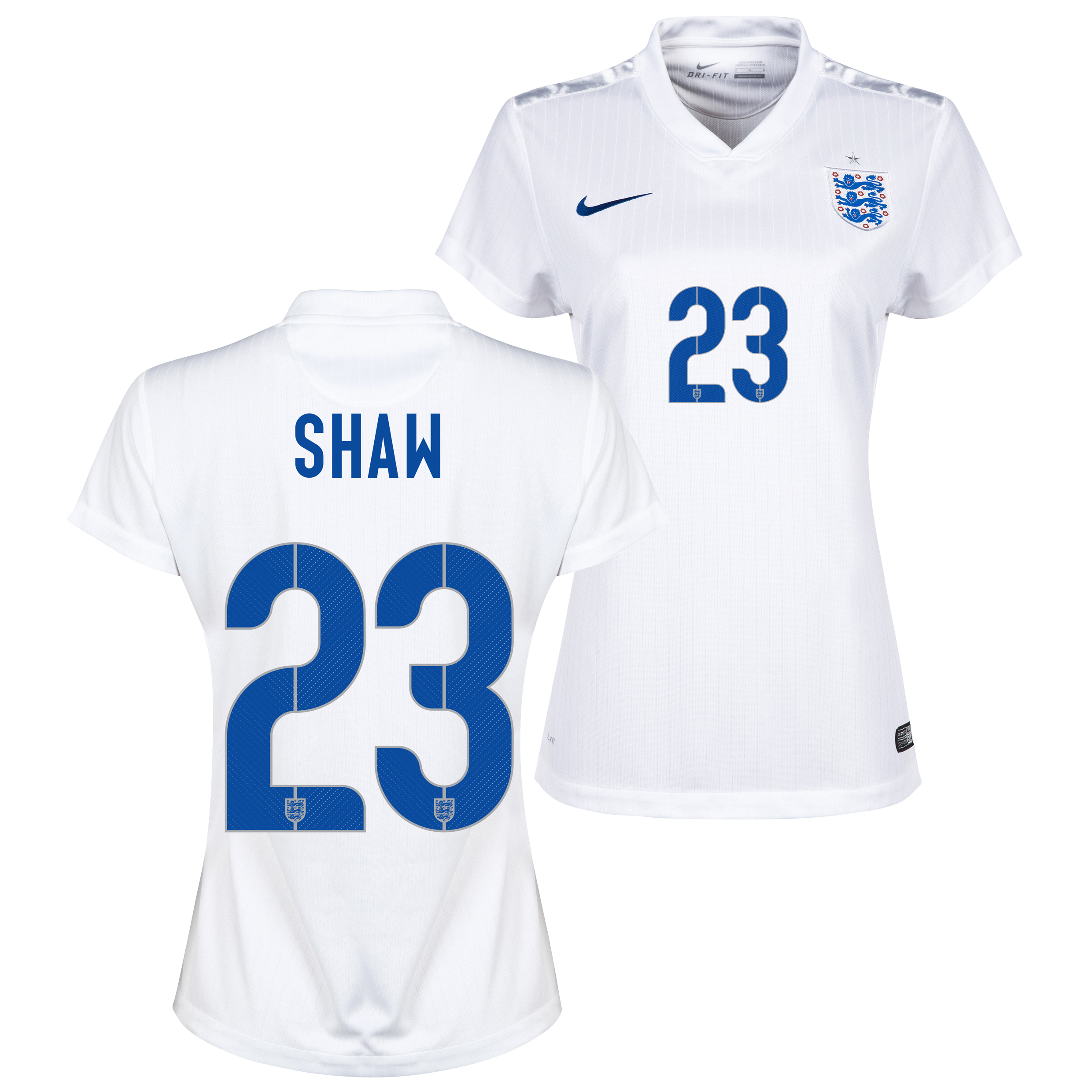 England Home Shirt 2014/15 - Womens White with Shaw 23 printing