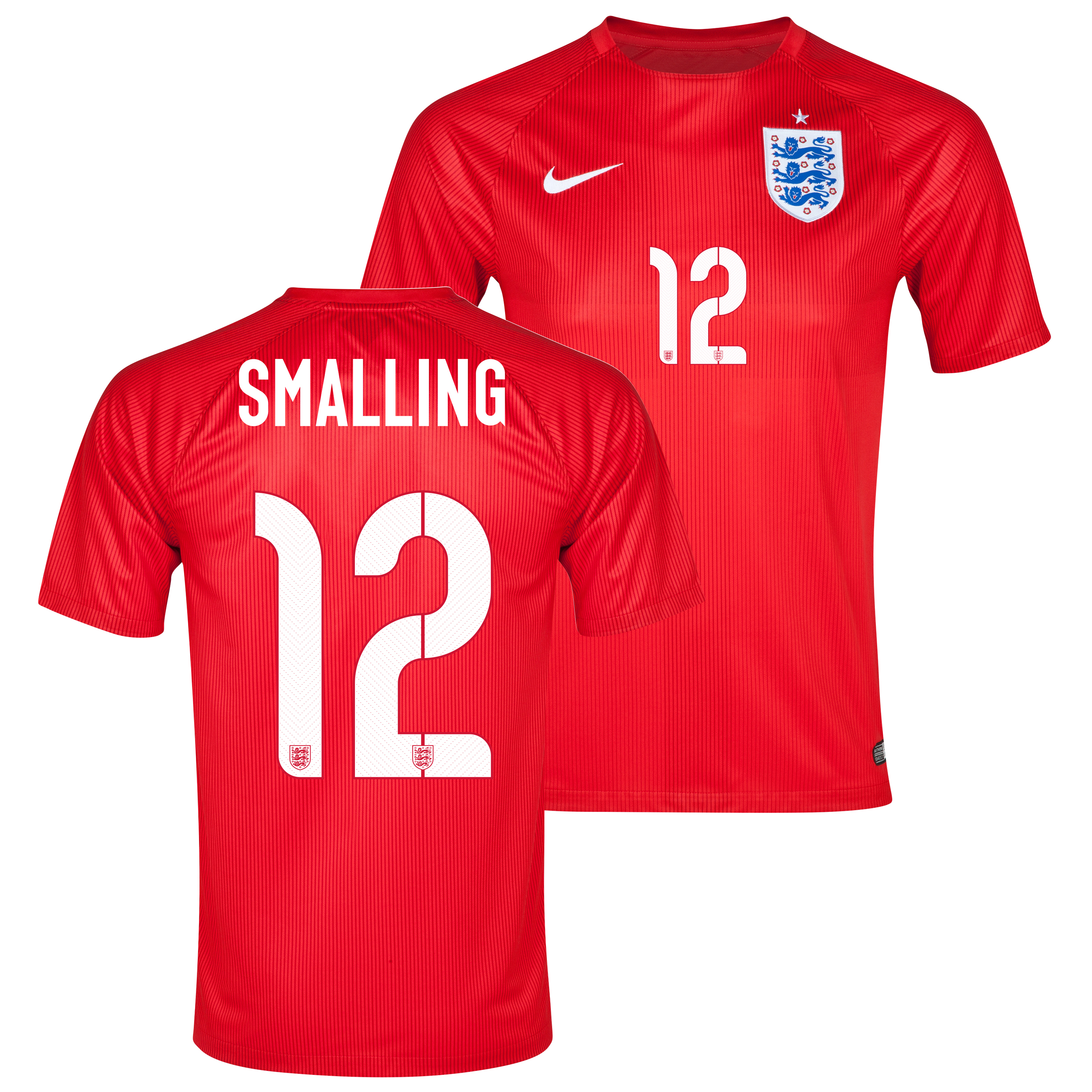 England Match Away Shirt 2014 Red with Smalling 12 printing