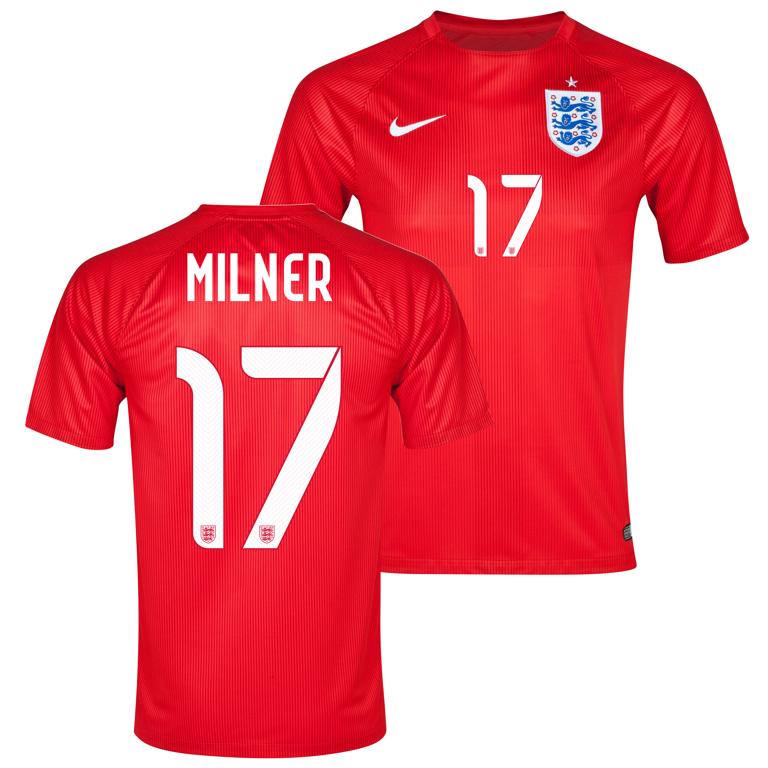 England Away Shirt 2014 Red with Milner 17 printing