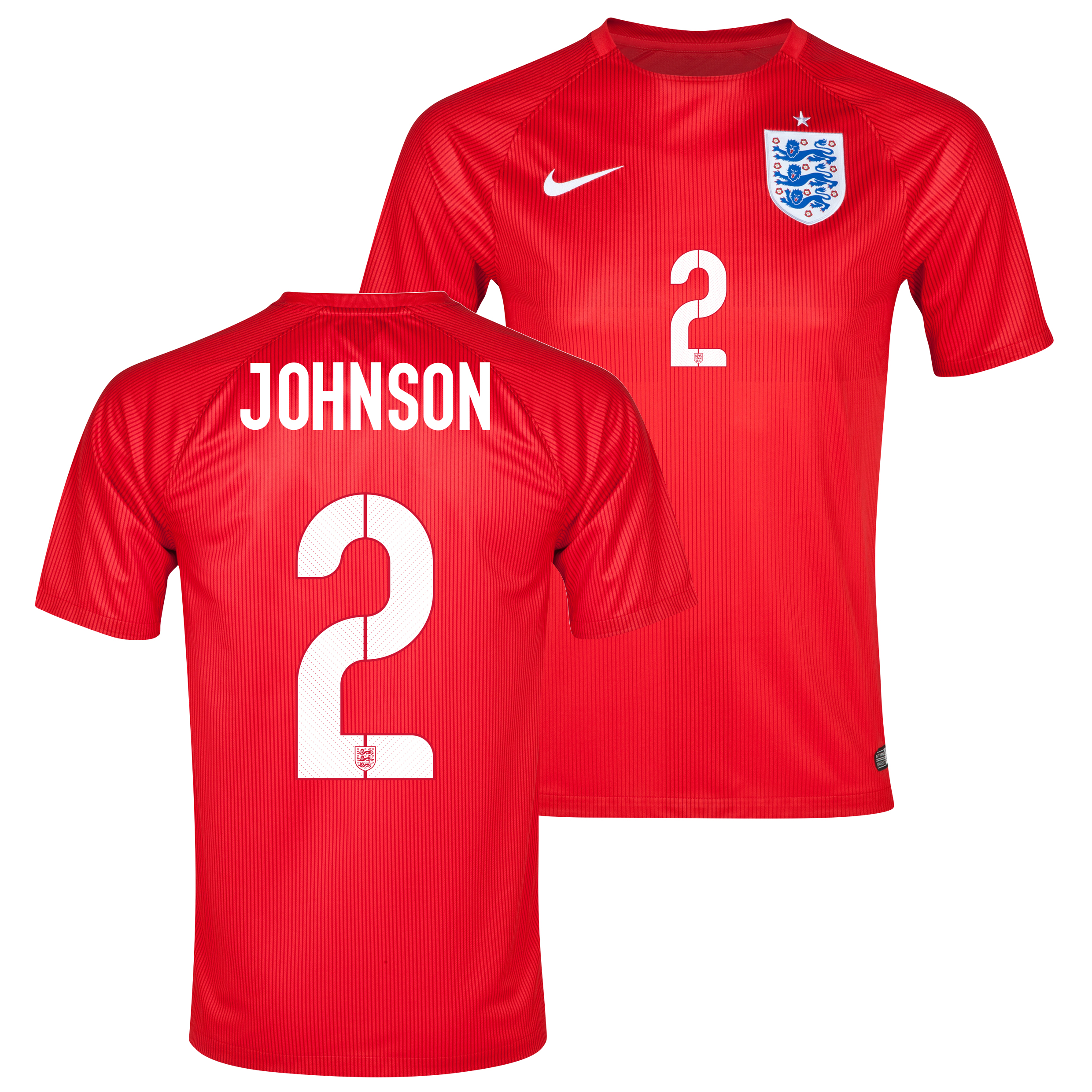England Away Shirt 2014 - Kids Red with Johnson 2 printing