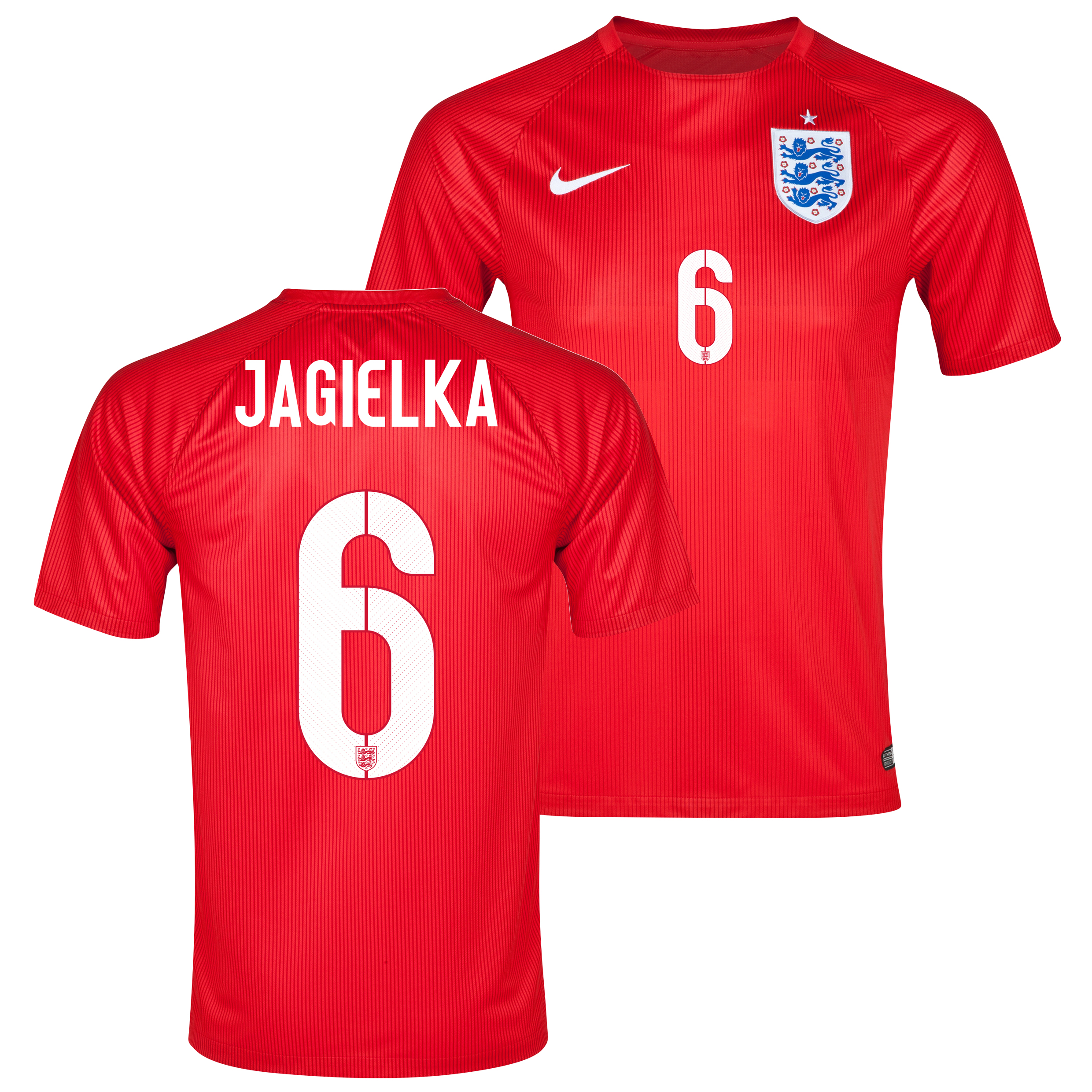 England Away Shirt 2014 - Kids Red with Jagielka 6 printing