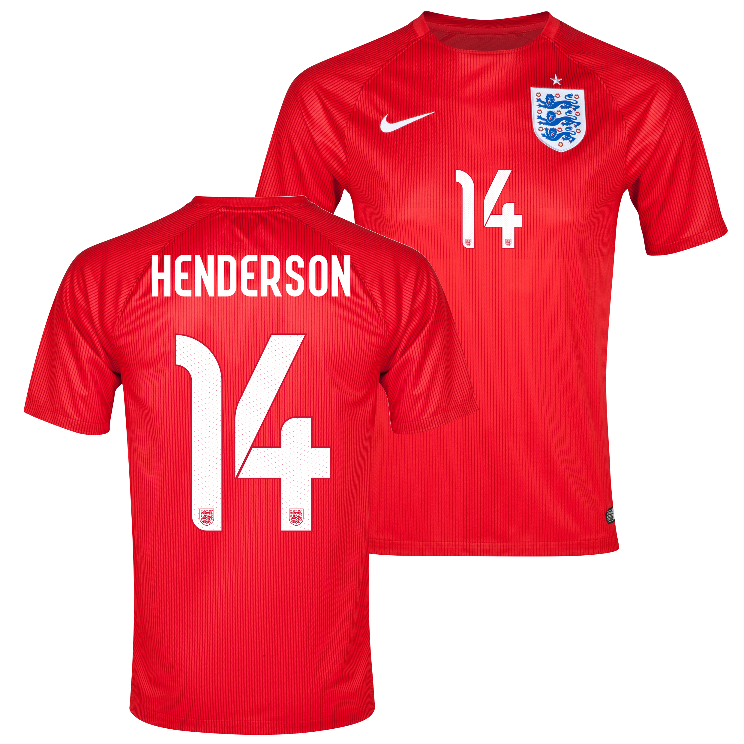 England Away Shirt 2014 - Kids Red with Henderson 14 printing