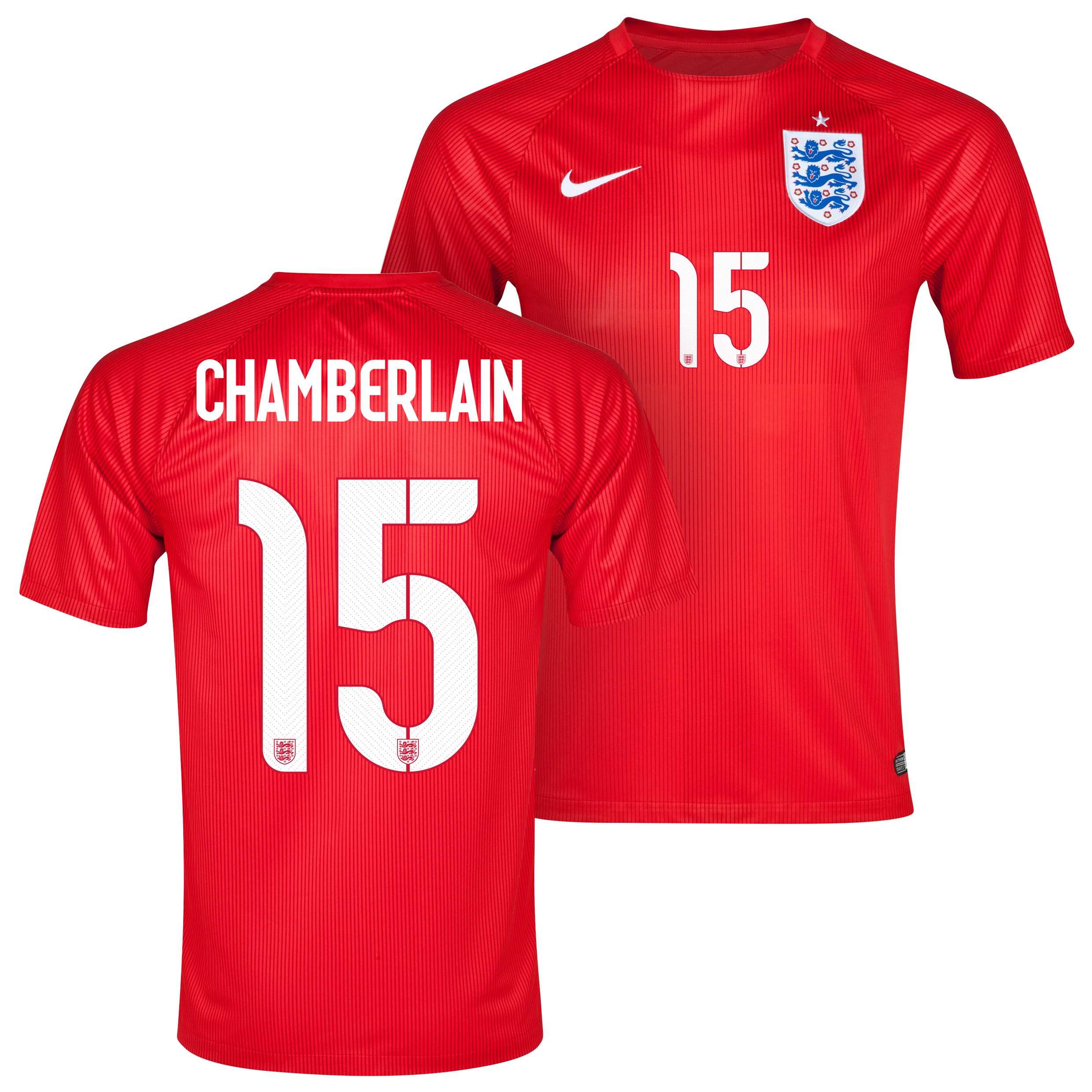 England Away Shirt 2014 - Kids Red with Chamberlain 15 printing
