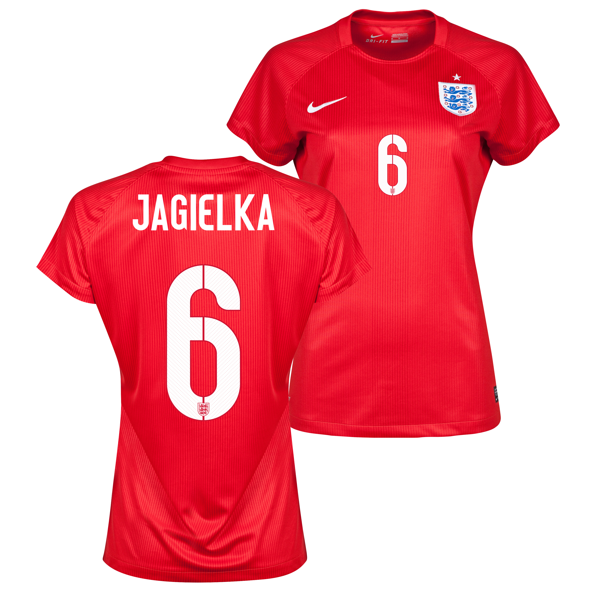 England Away Shirt 2014 - Womens Red with Jagielka 6 printing