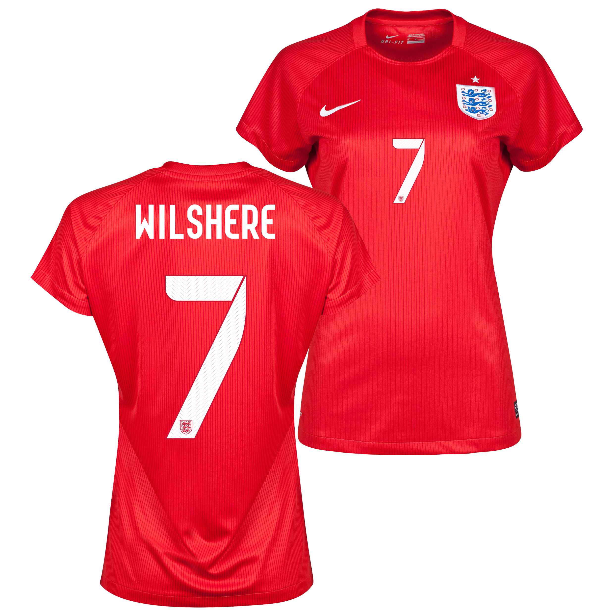 England Away Shirt 2014 - Womens Red with Wilshere 7 printing