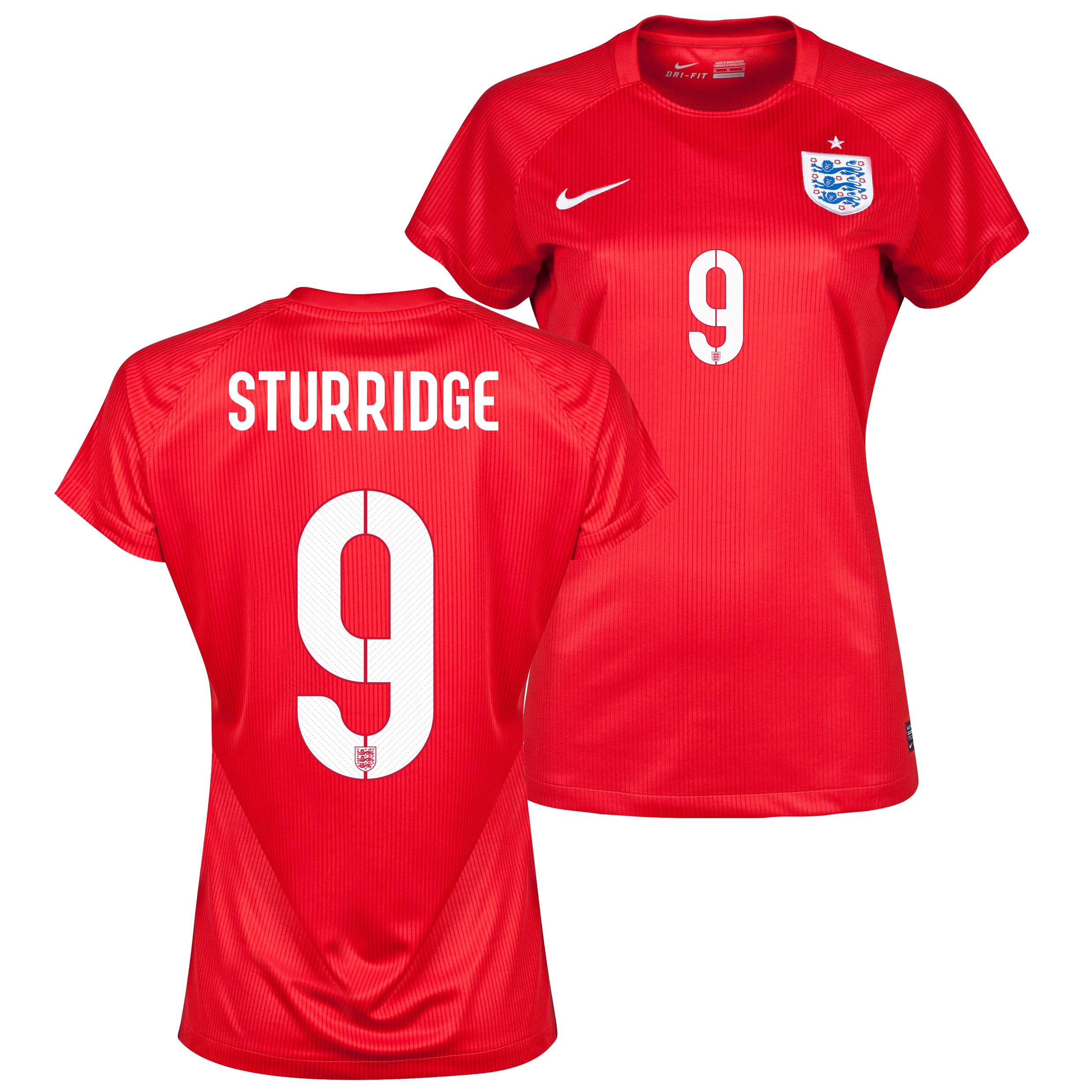 England Away Shirt 2014 - Womens Red with Sturridge 9 printing