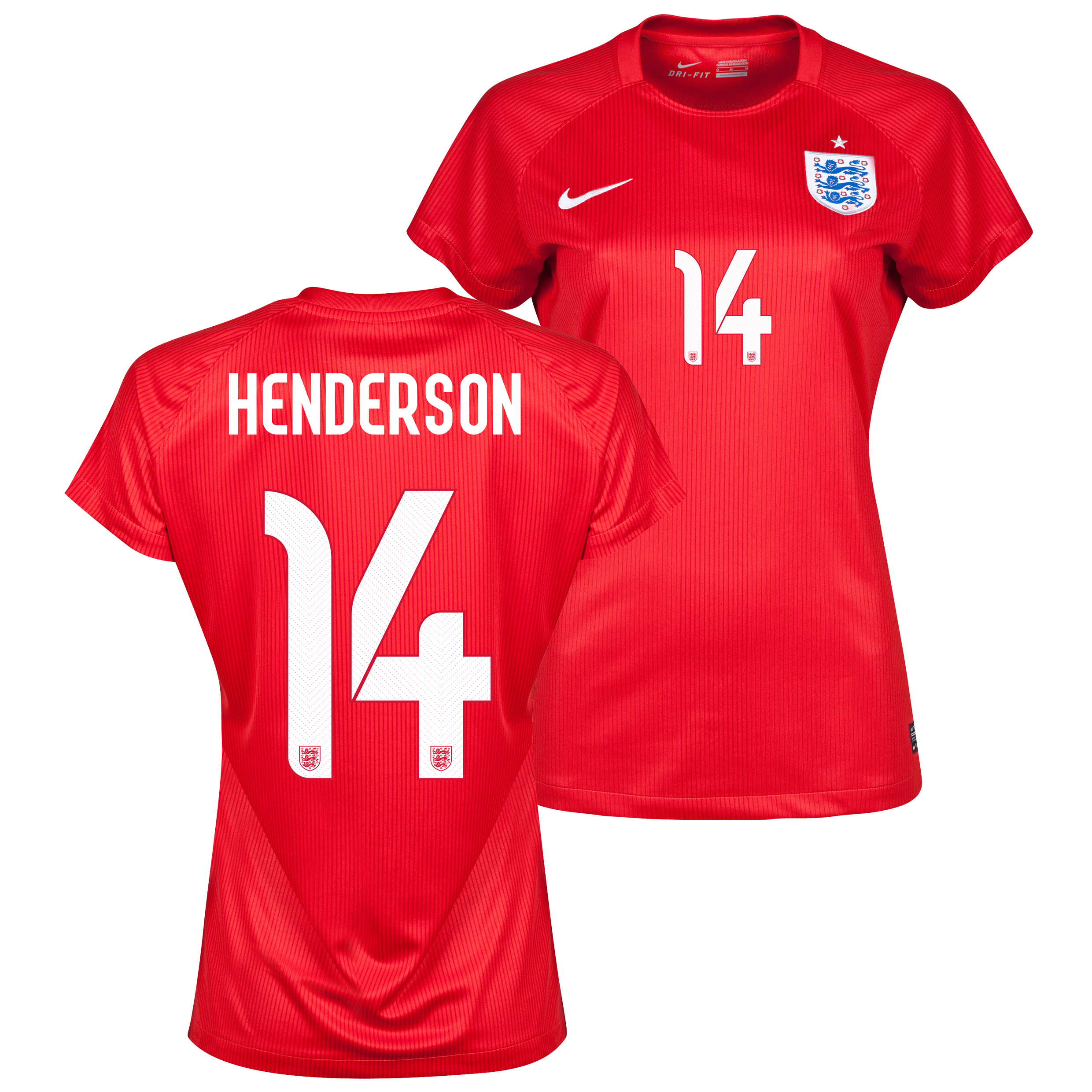 England Away Shirt 2014 - Womens Red with Henderson 14 printing