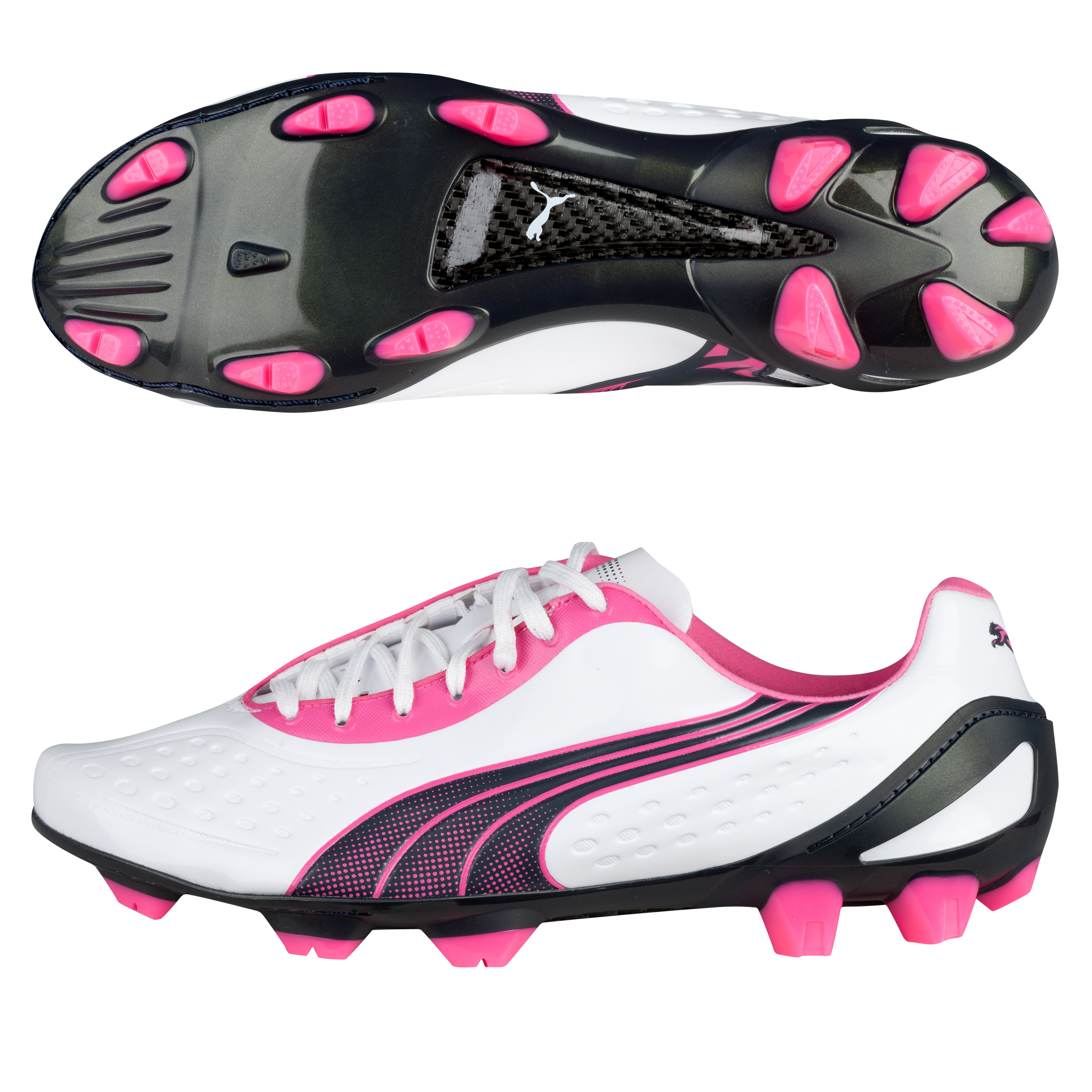 Puma v1.11 Super Light Firm Ground Football Boots  - White Pearl/New Navy/Fluo Pink