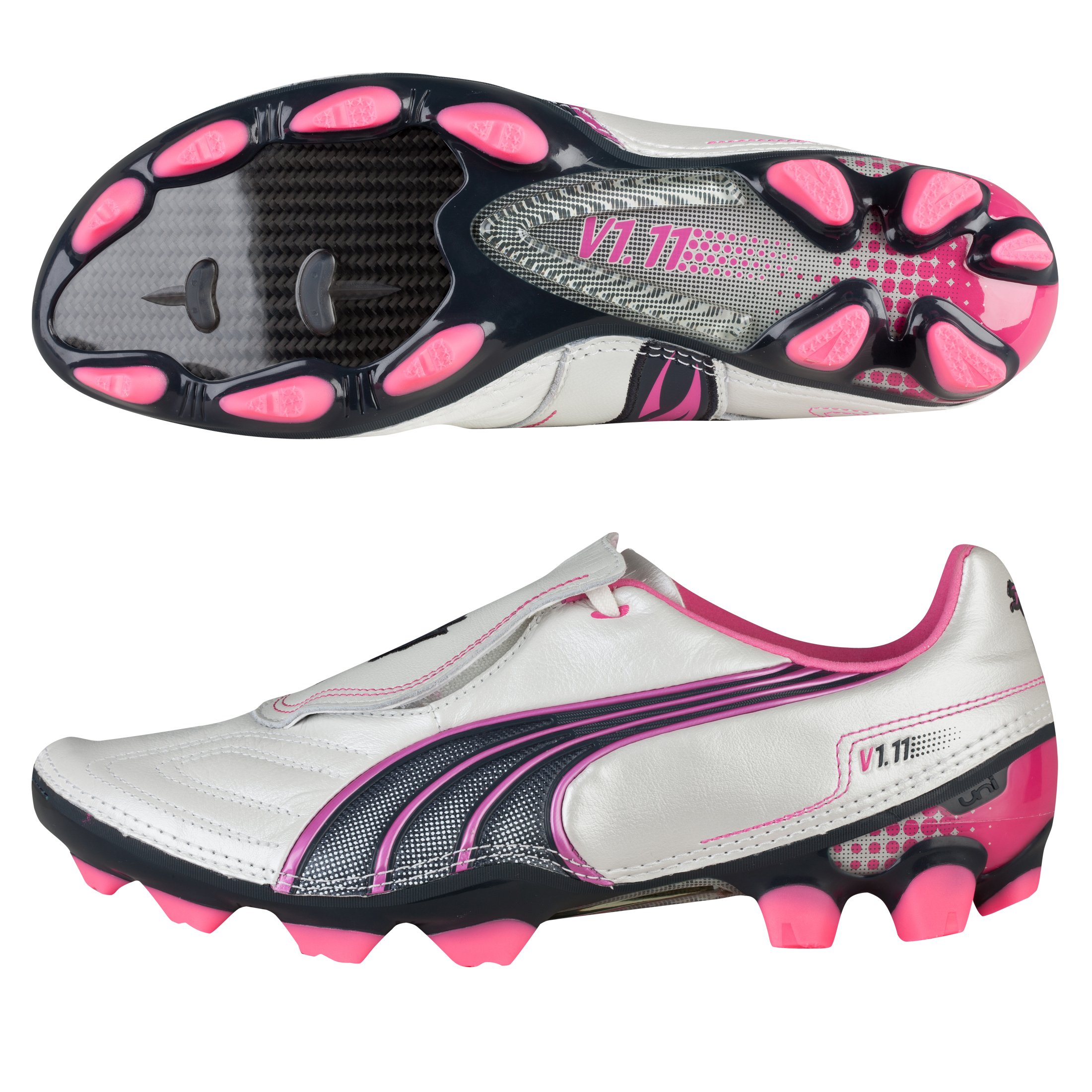Puma v1.11 K Firm Ground Football Boot - White Pearl/New Navy/Fluo Pink