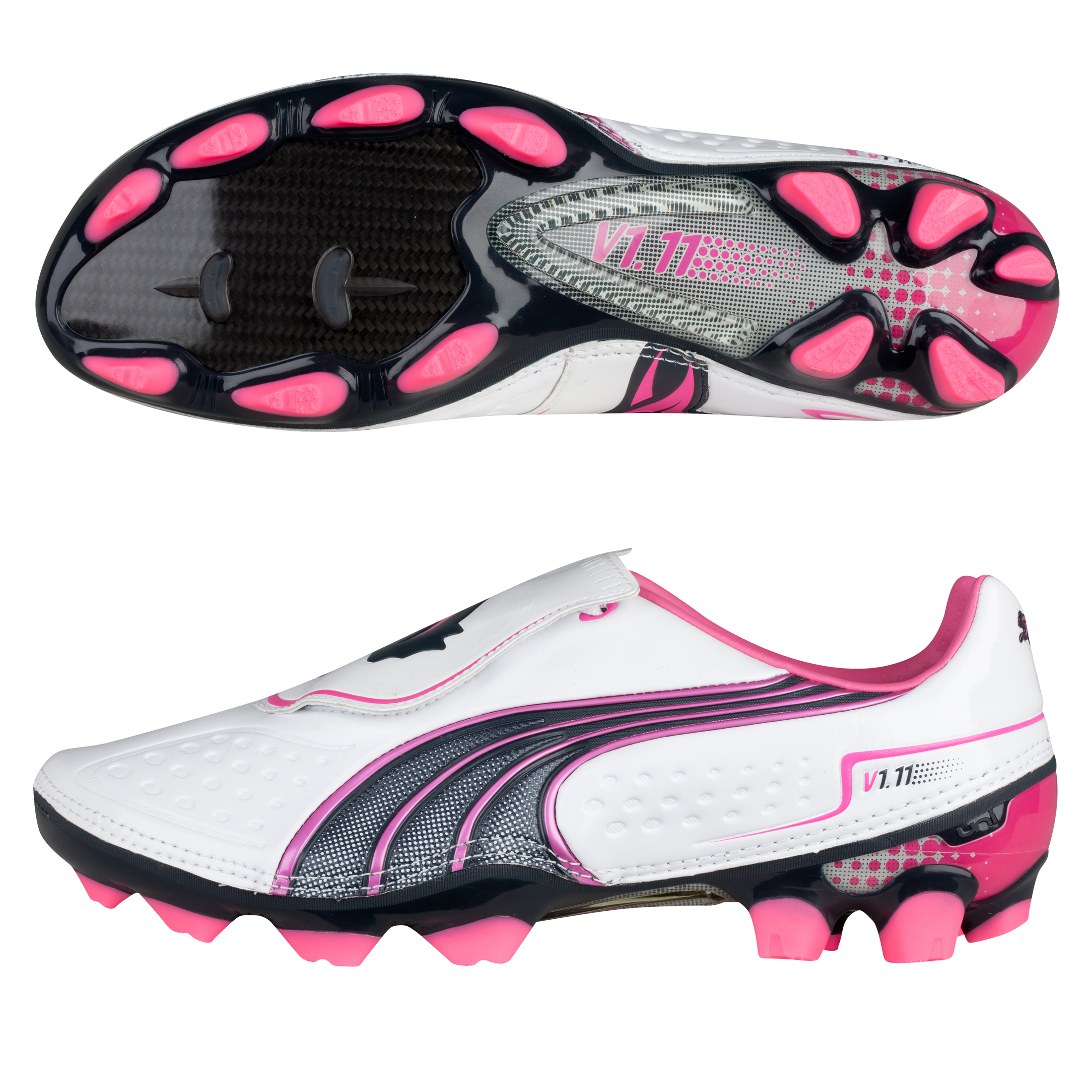 Puma v1.11 i Firm Ground Football Boot White - Pearl/New Navy/Fluo Pink