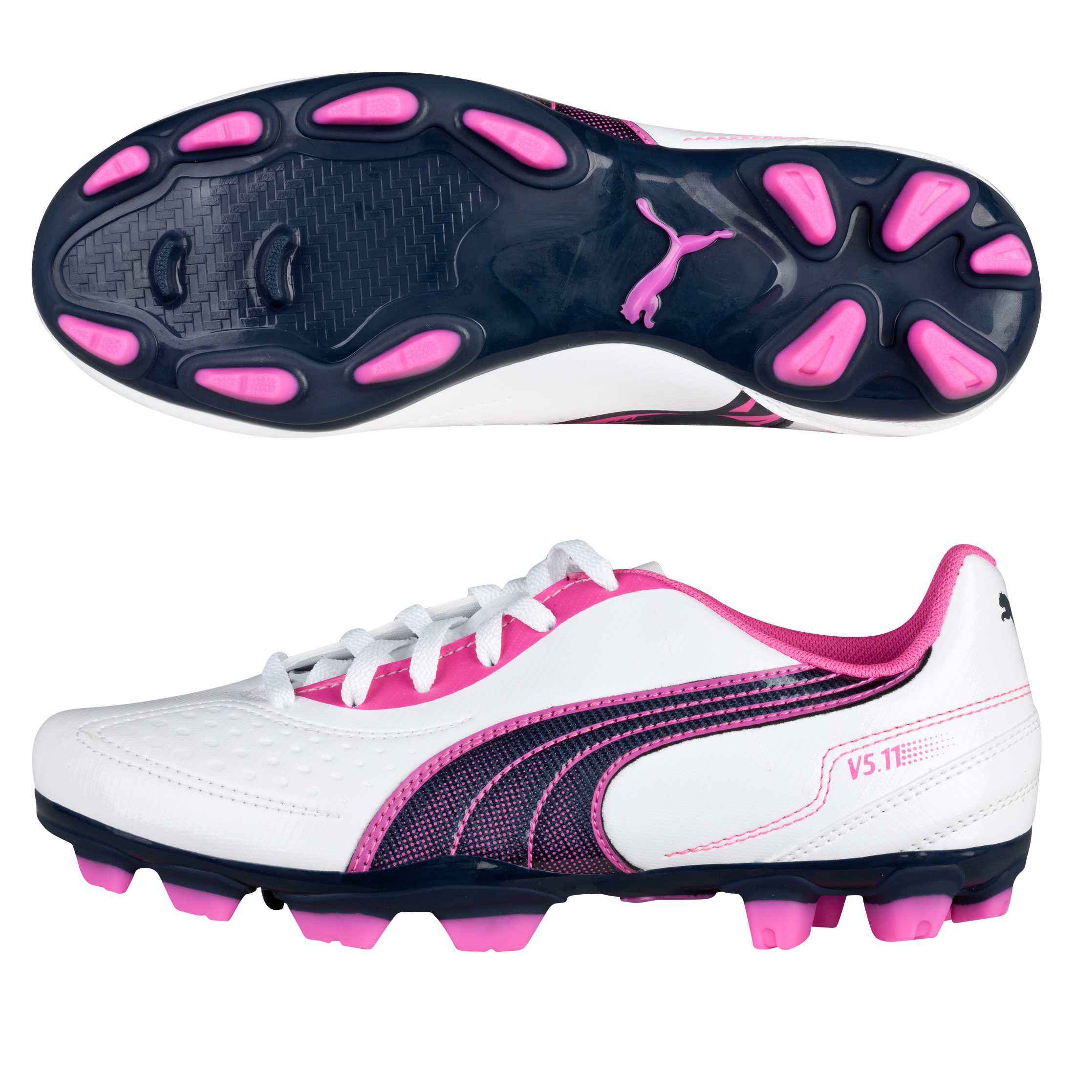 Puma v5.11 i Firm Ground Football Boots - White/New Navy/Fluo Pink - Kids