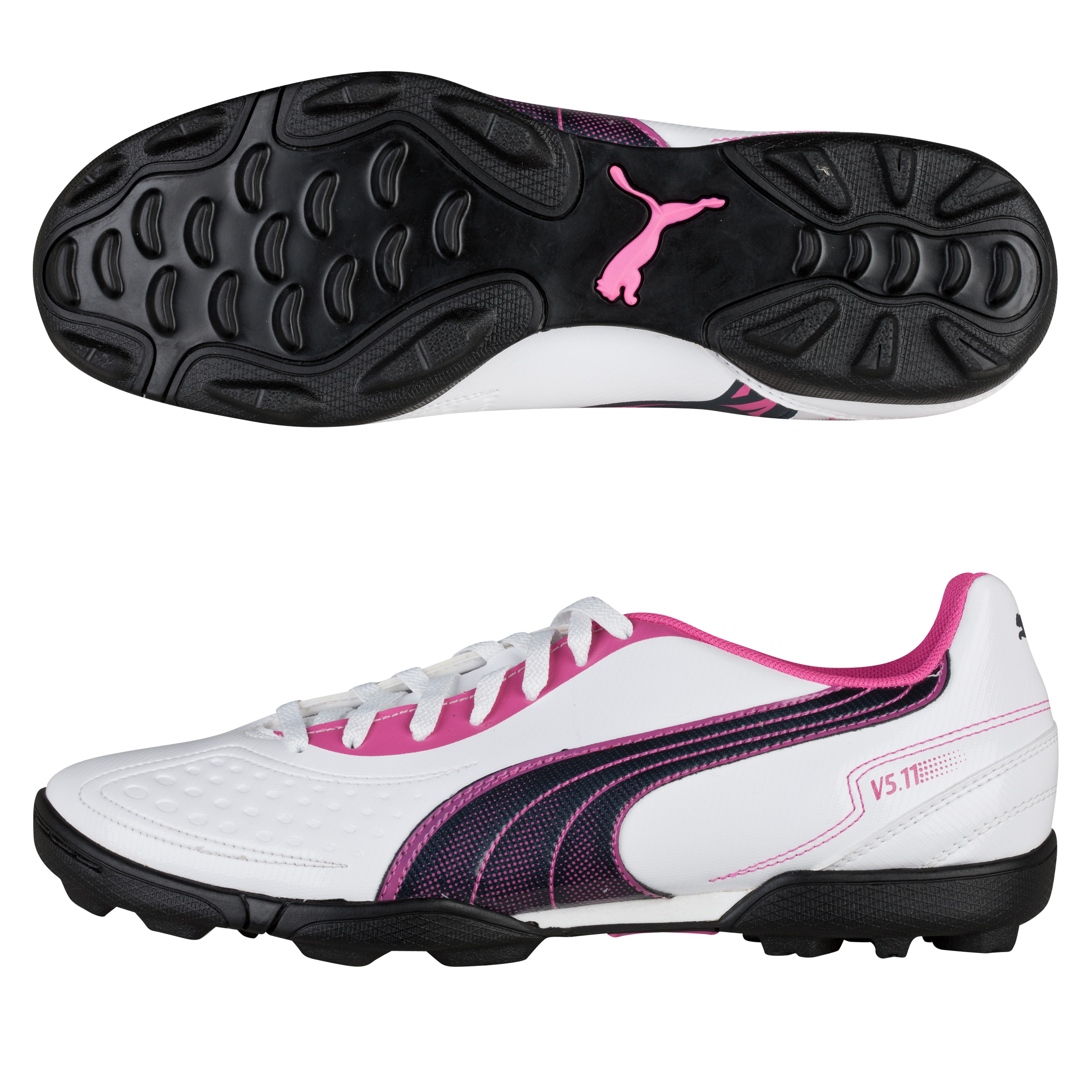 Puma v5.11 Astro Turf Trainers White/New Navy/Fluo Pink - Kids