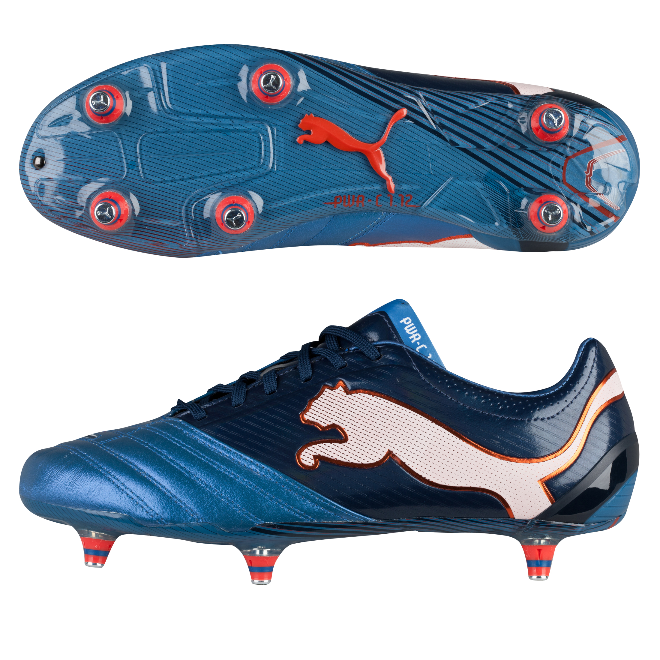 Puma PowerCat 1.12 Soft Ground Football Boots - Metallic Blue/Black Iris/White/Orange