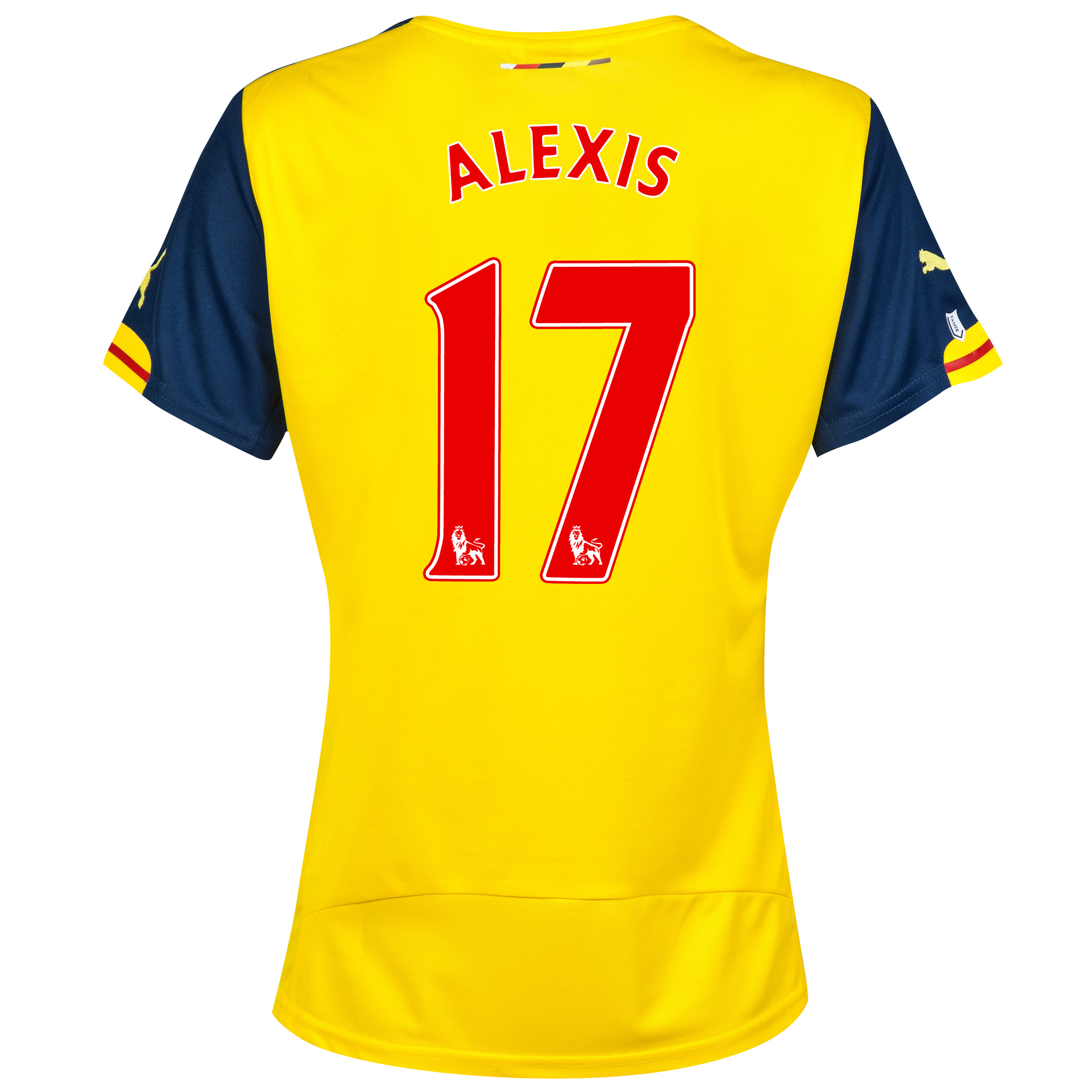 Arsenal Away Shirt 2014/15 - Womens Yellow Blue with Alexis 17 printing