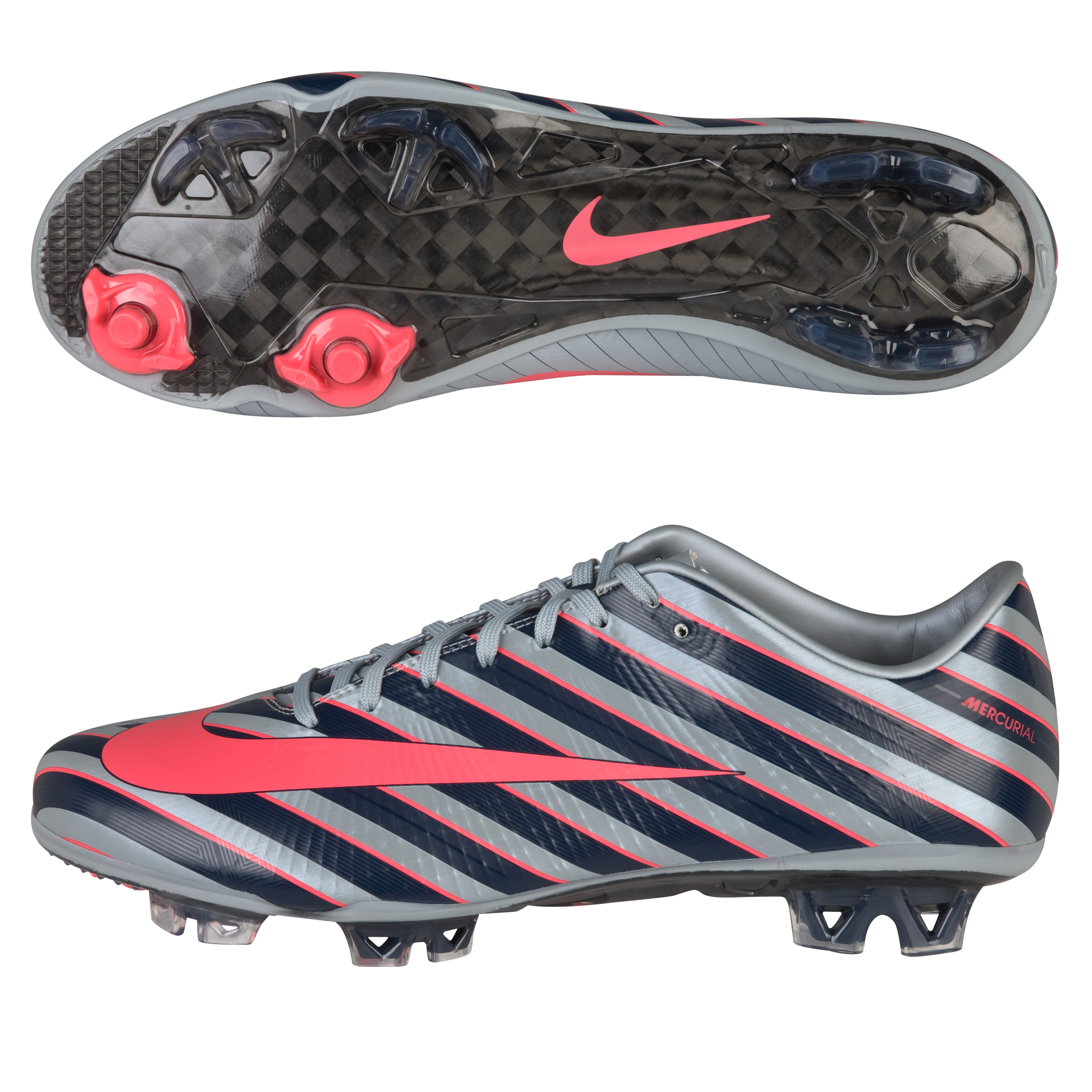 Nike Mercurial Vapor Superfly CR7 III Firm Ground Football Boots - Metallic Blue/Solar Red/Dark Obsidian