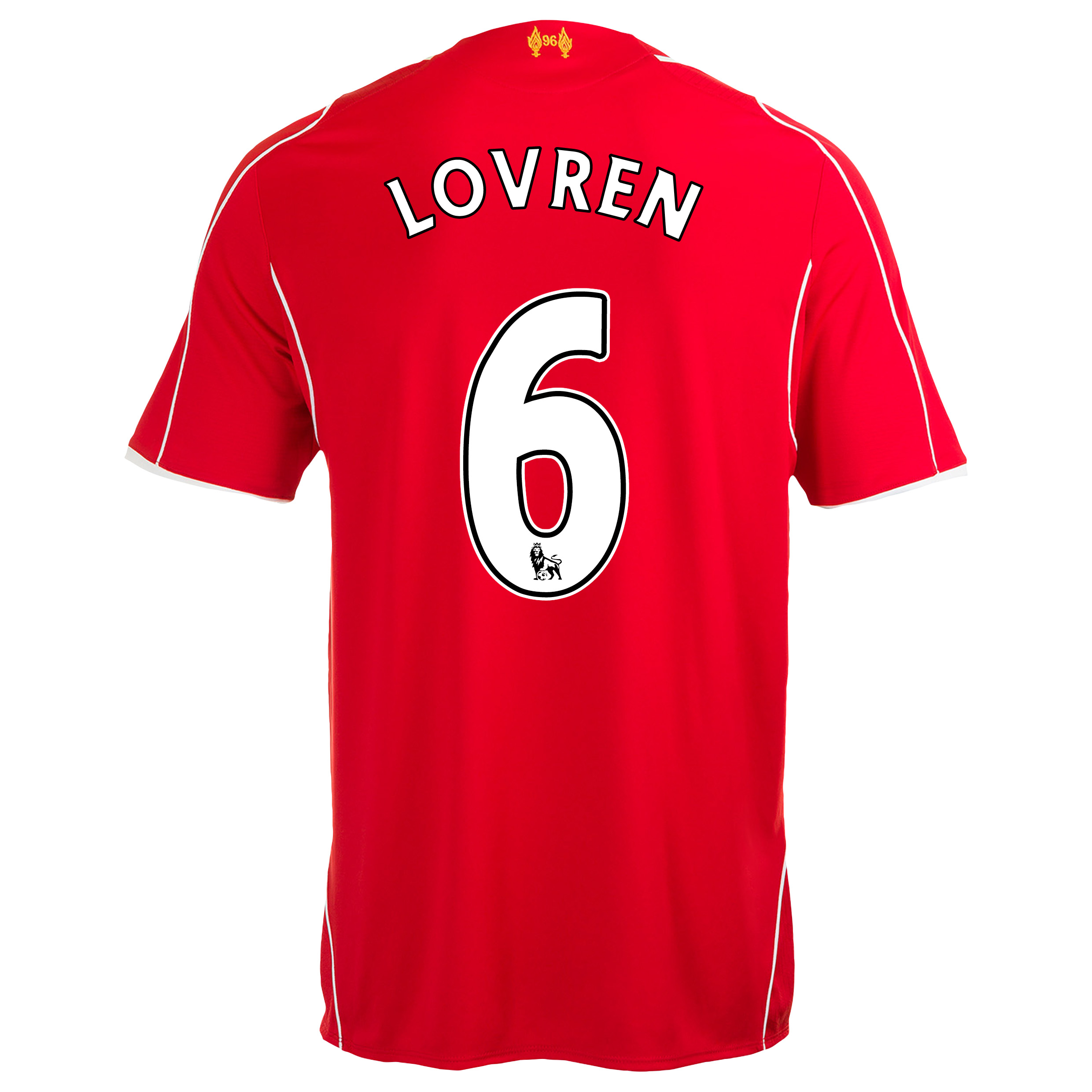 Liverpool Home Shirt 2014/15 Kids with Lovren 6 printing