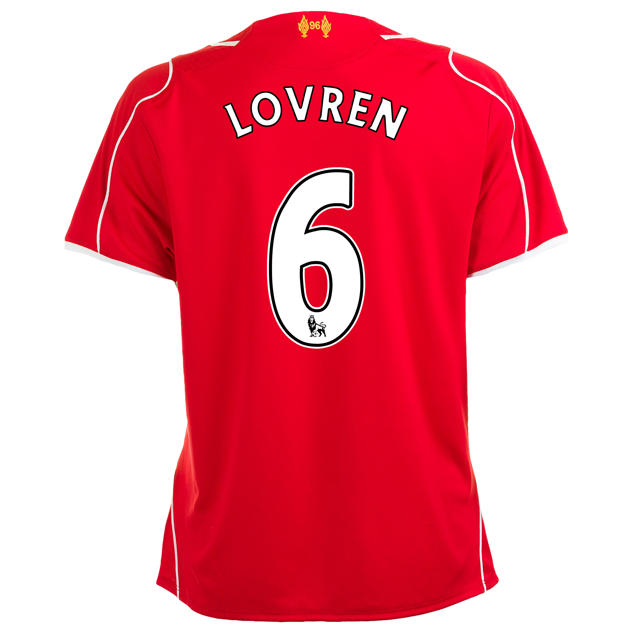 Liverpool Home Shirt 2014/15 Womens with Lovren 6 printing