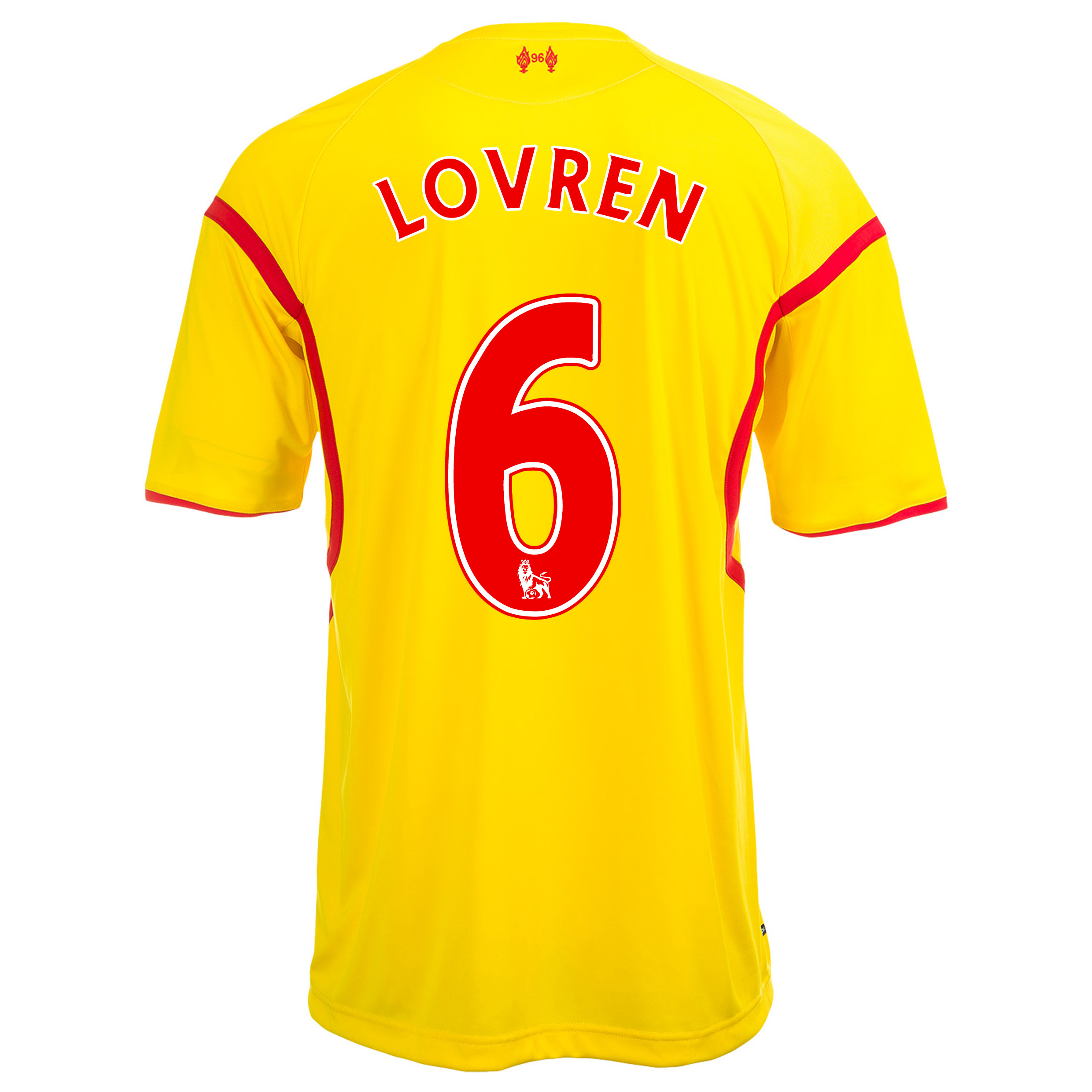 Liverpool Away Shirt 2014/15 Kids with Lovren 6 printing