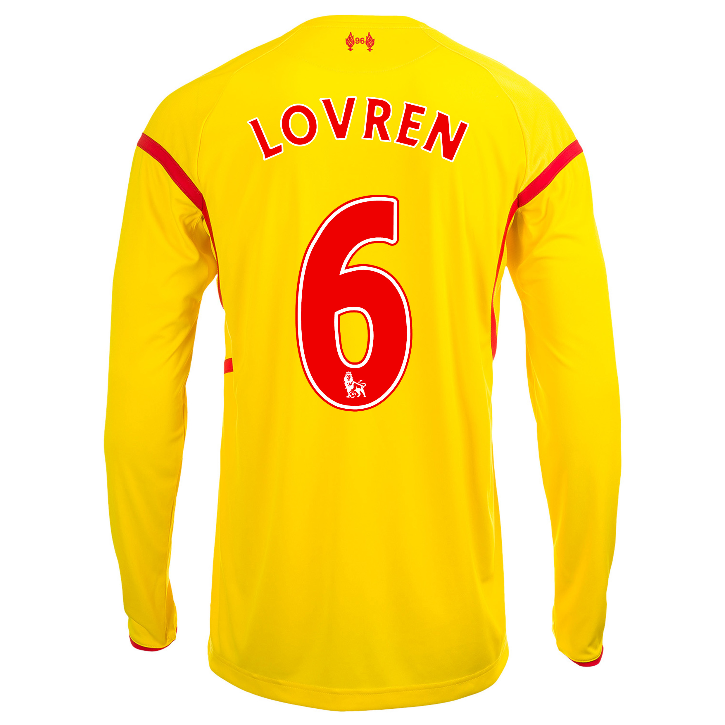 Liverpool Away Shirt 2014/15 Long Sleeve Kids with Lovren 6 printing
