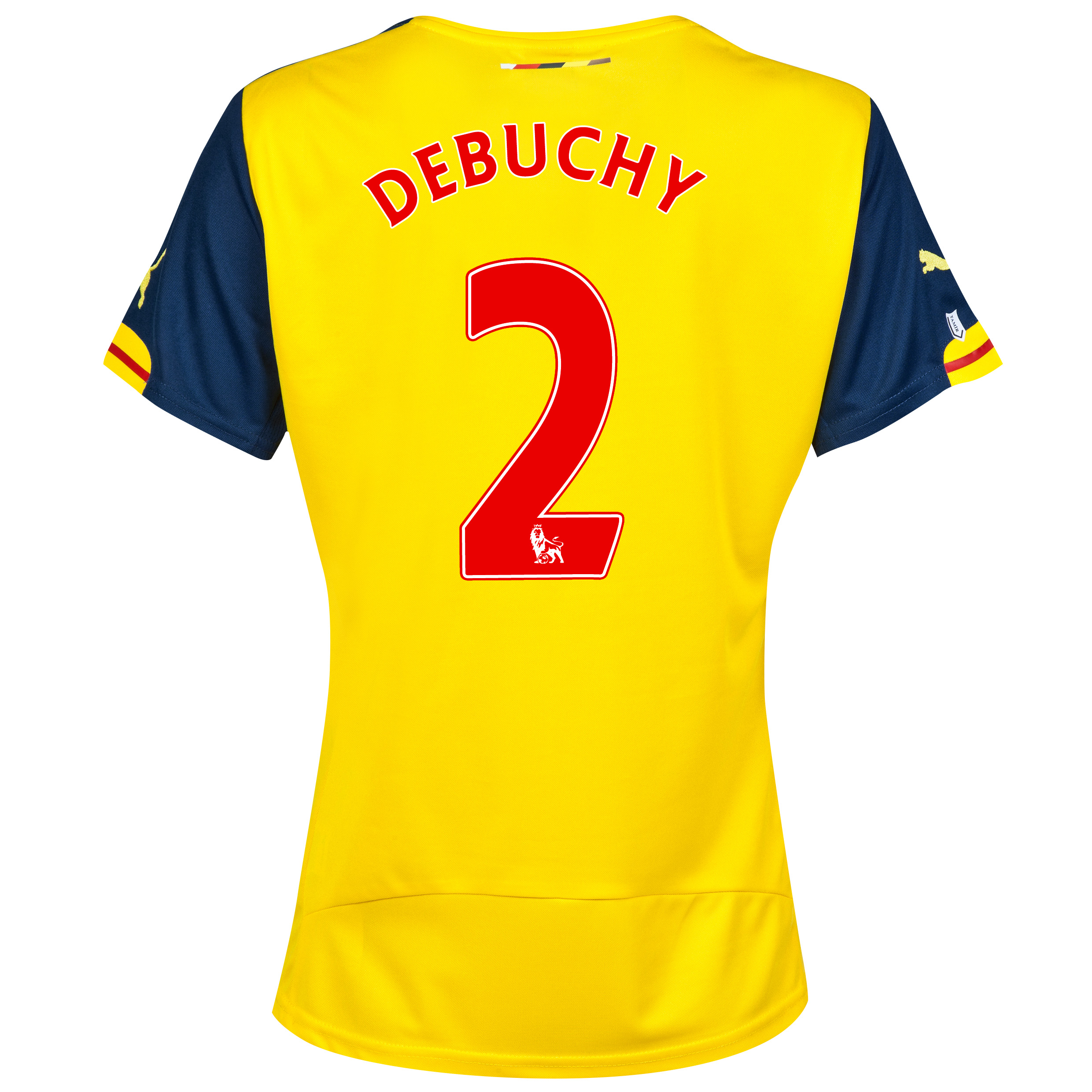 Arsenal Away Shirt 2014/15 - Womens Yellow with Debuchy 2 printing
