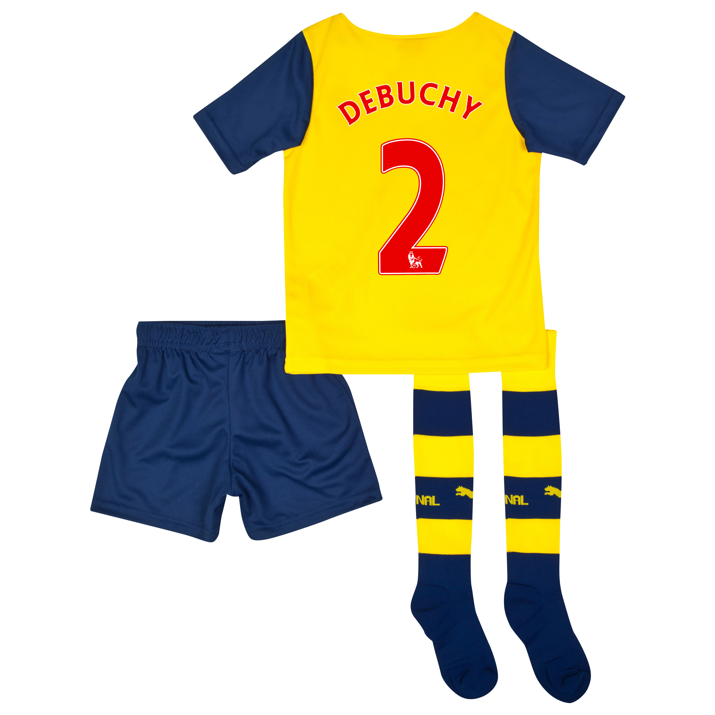 Arsenal Away Mini Kit 2014/15 Yellow with Debuchy 2 printing