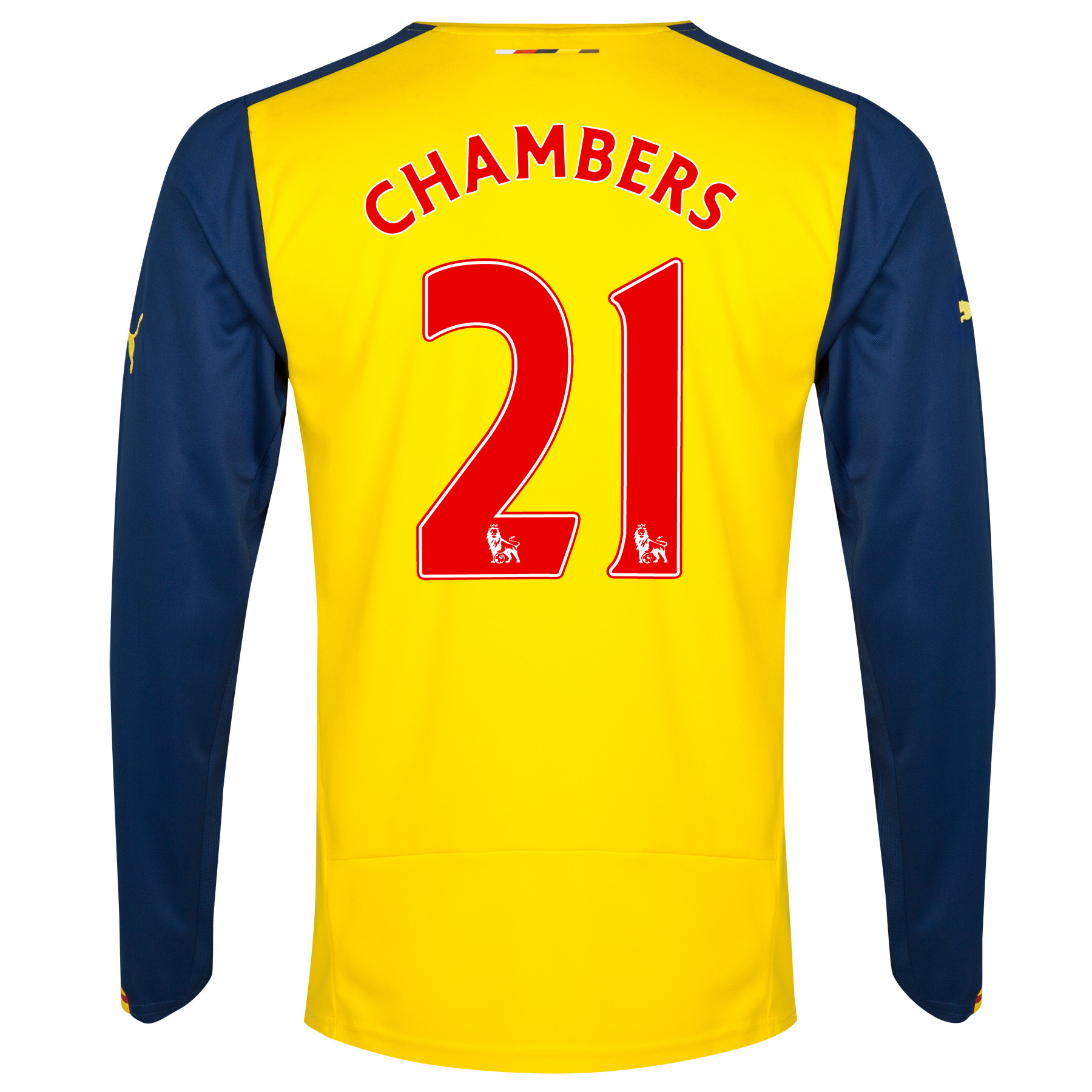 Arsenal Away Shirt 2014/15 - Long Sleeve Yellow with Chambers 21 printing