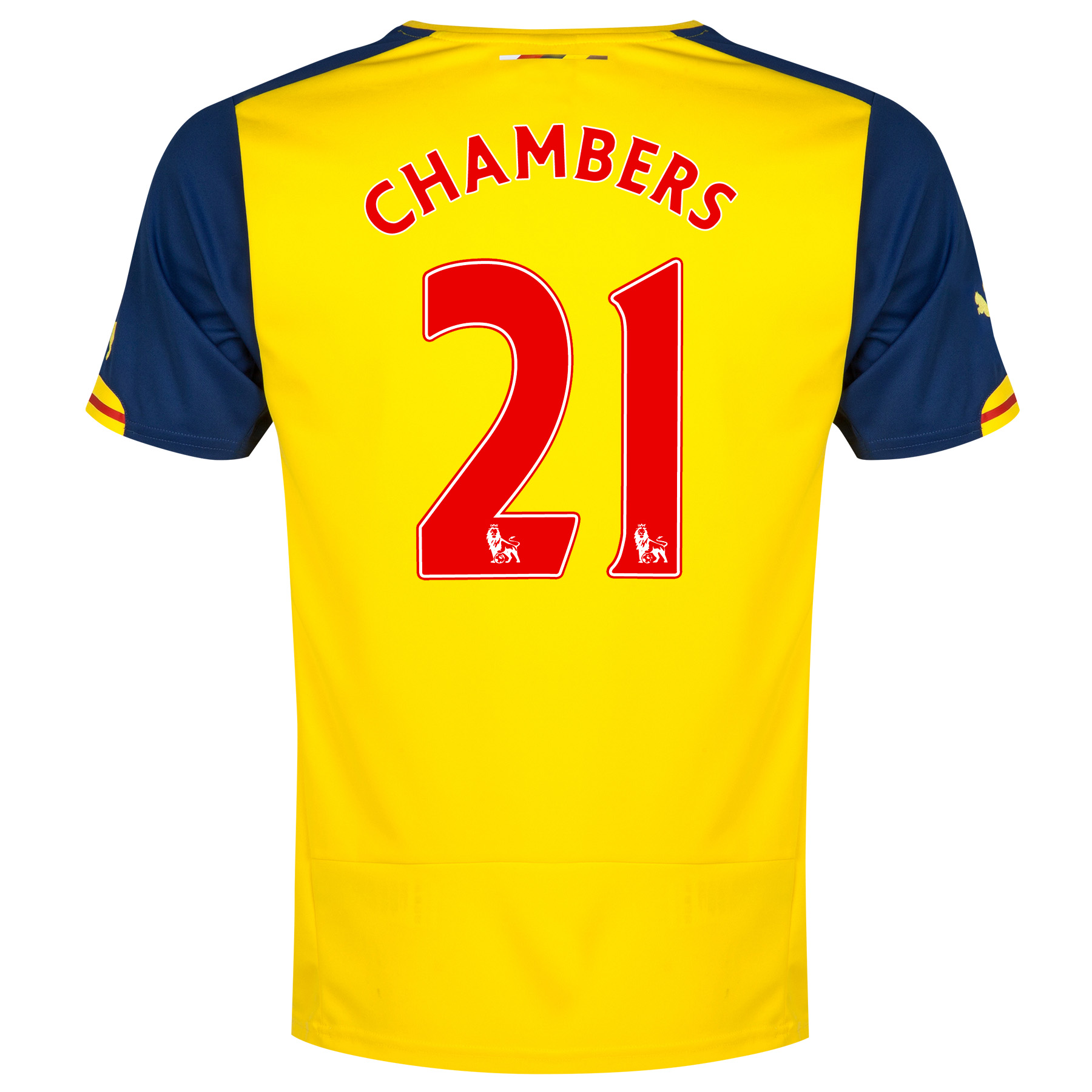 Arsenal Away Shirt 2014/15 - Kids Yellow with Chambers 21 printing