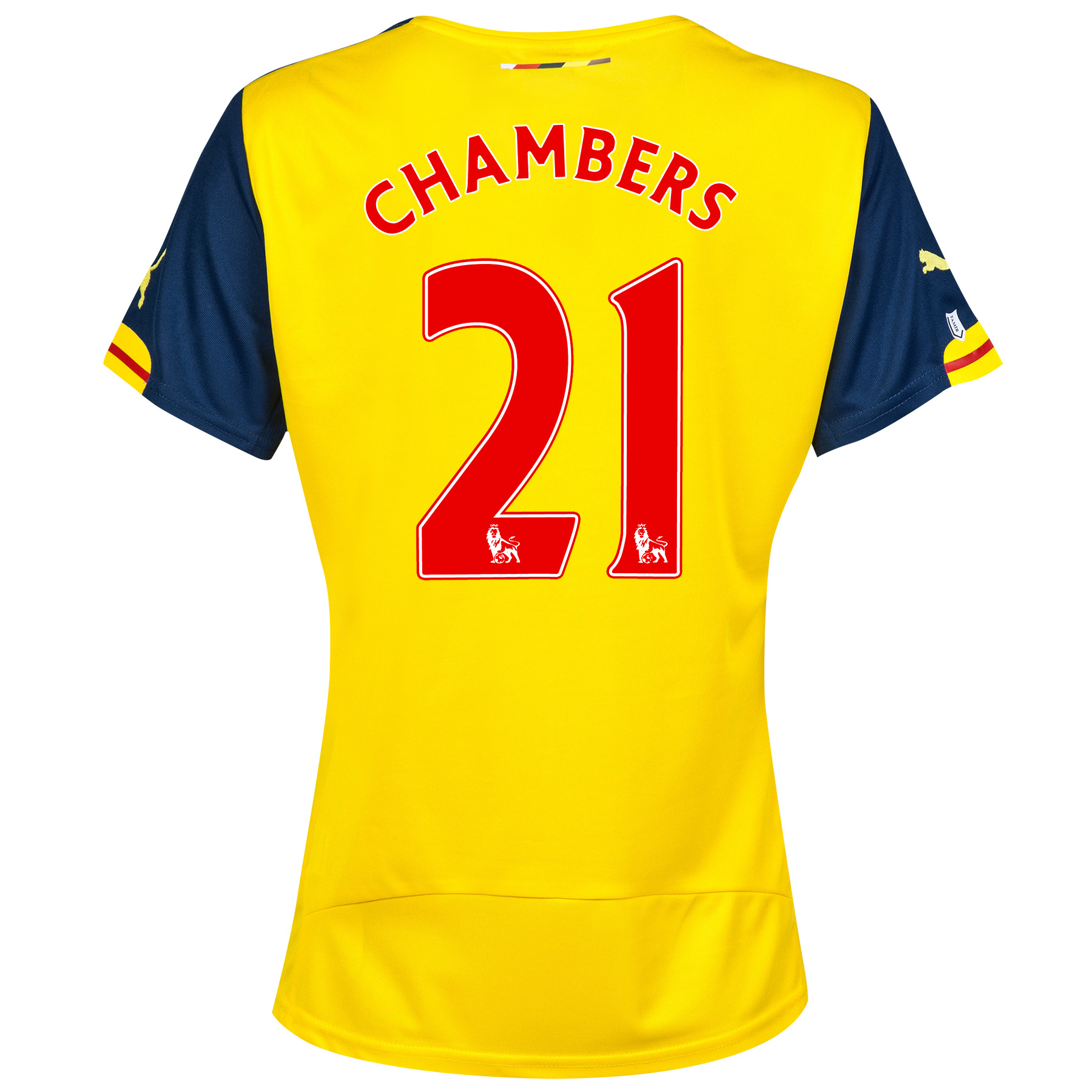 Arsenal Away Shirt 2014/15 - Womens Yellow with Chambers 21 printing