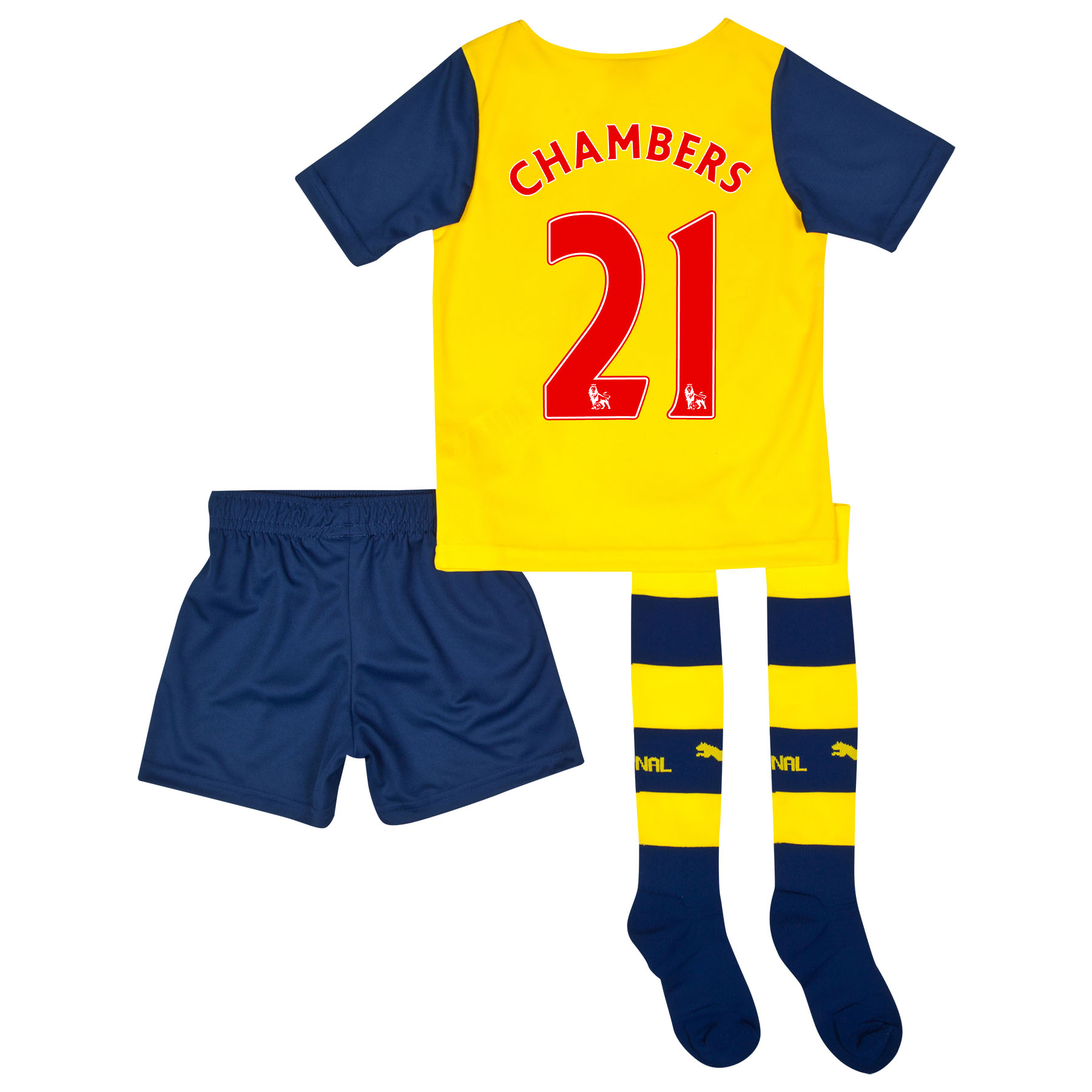 Arsenal Away Mini Kit 2014/15 Yellow with Chambers 21 printing