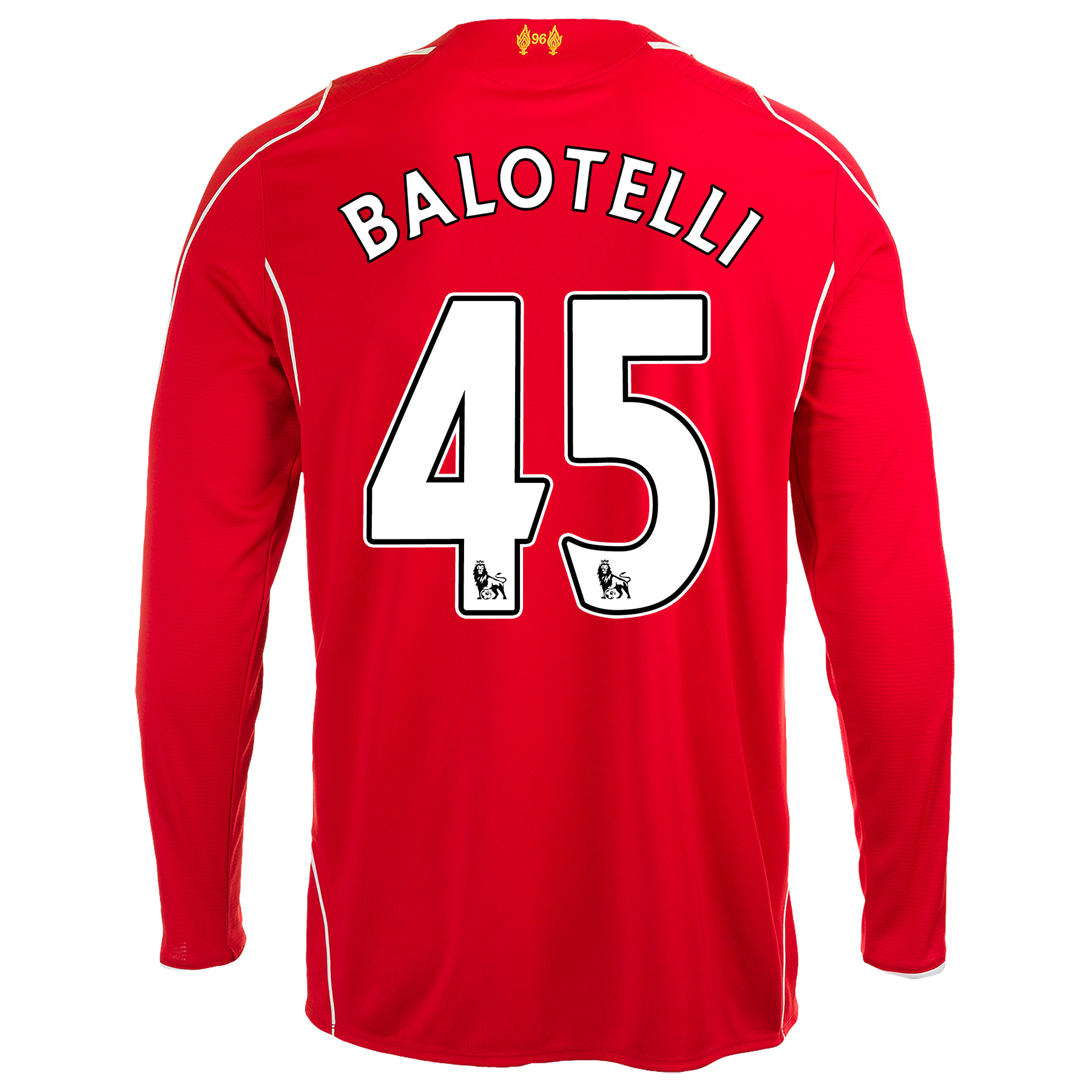 Liverpool Home Shirt 2014/15 Long Sleeve - Kids with Balotelli 45 printing
