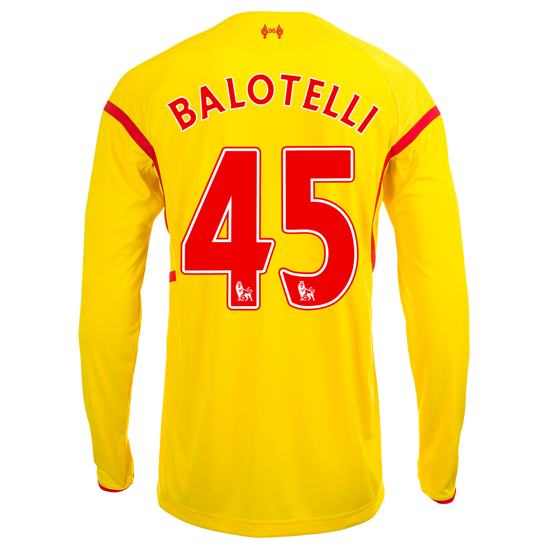 Liverpool Away Shirt 2014/15 Long Sleeve Kids with Balotelli 45 printing