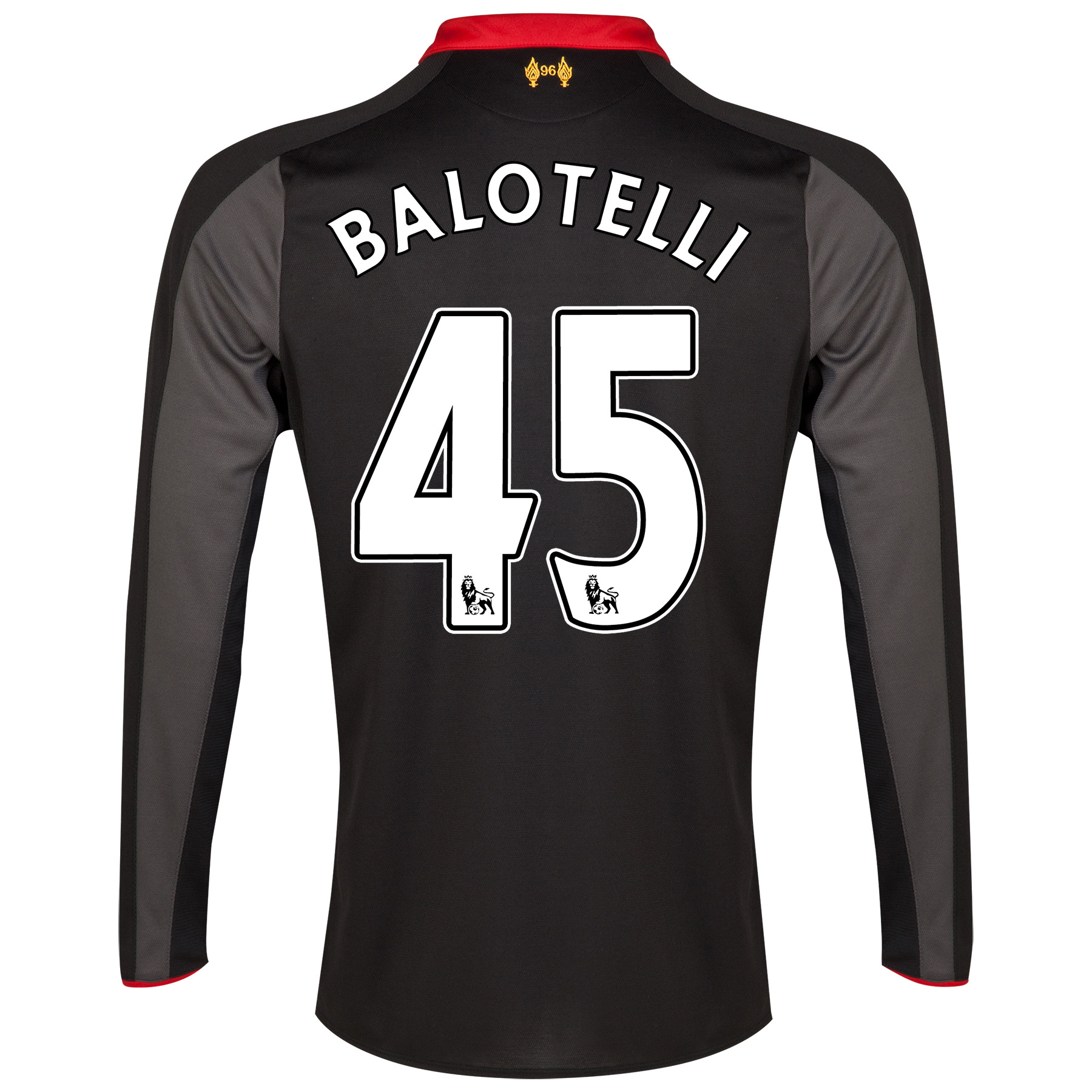 Liverpool Third Shirt 2014/15 Long Sleeve Kids Black with Balotelli 45 printing