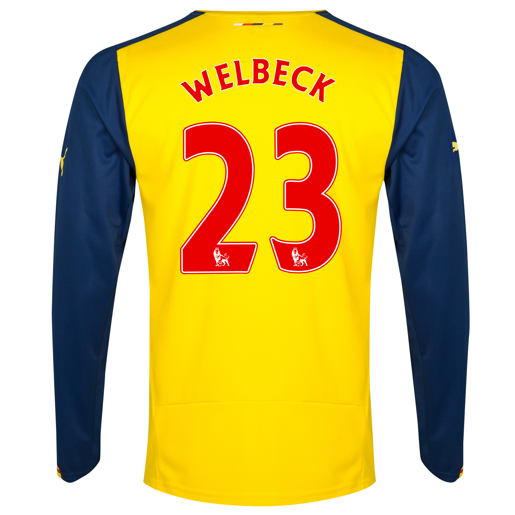 Arsenal Away Shirt 2014/15 - Long Sleeve Yellow with Welbeck 23 printing