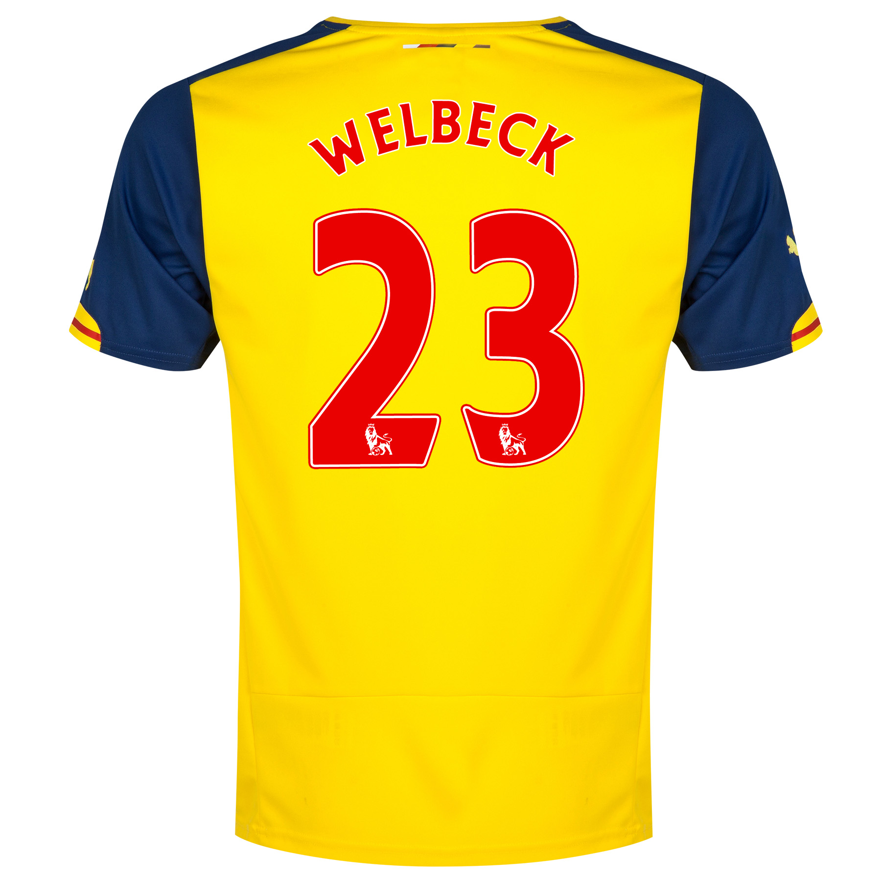 Arsenal Away Shirt 2014/15 - Kids Yellow with Welbeck 23 printing